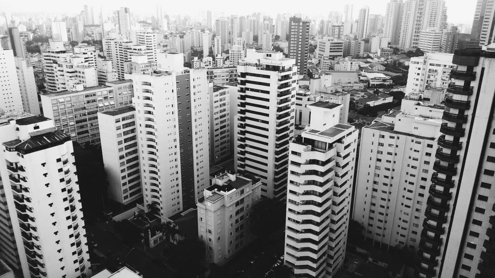 arial view of city in grayscale photo