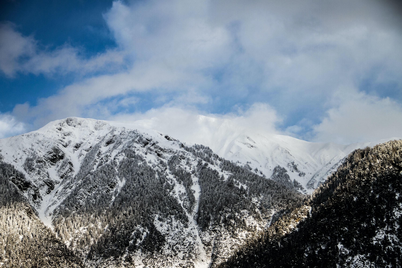 white snow on mountains
