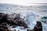 wave of sea on rocks