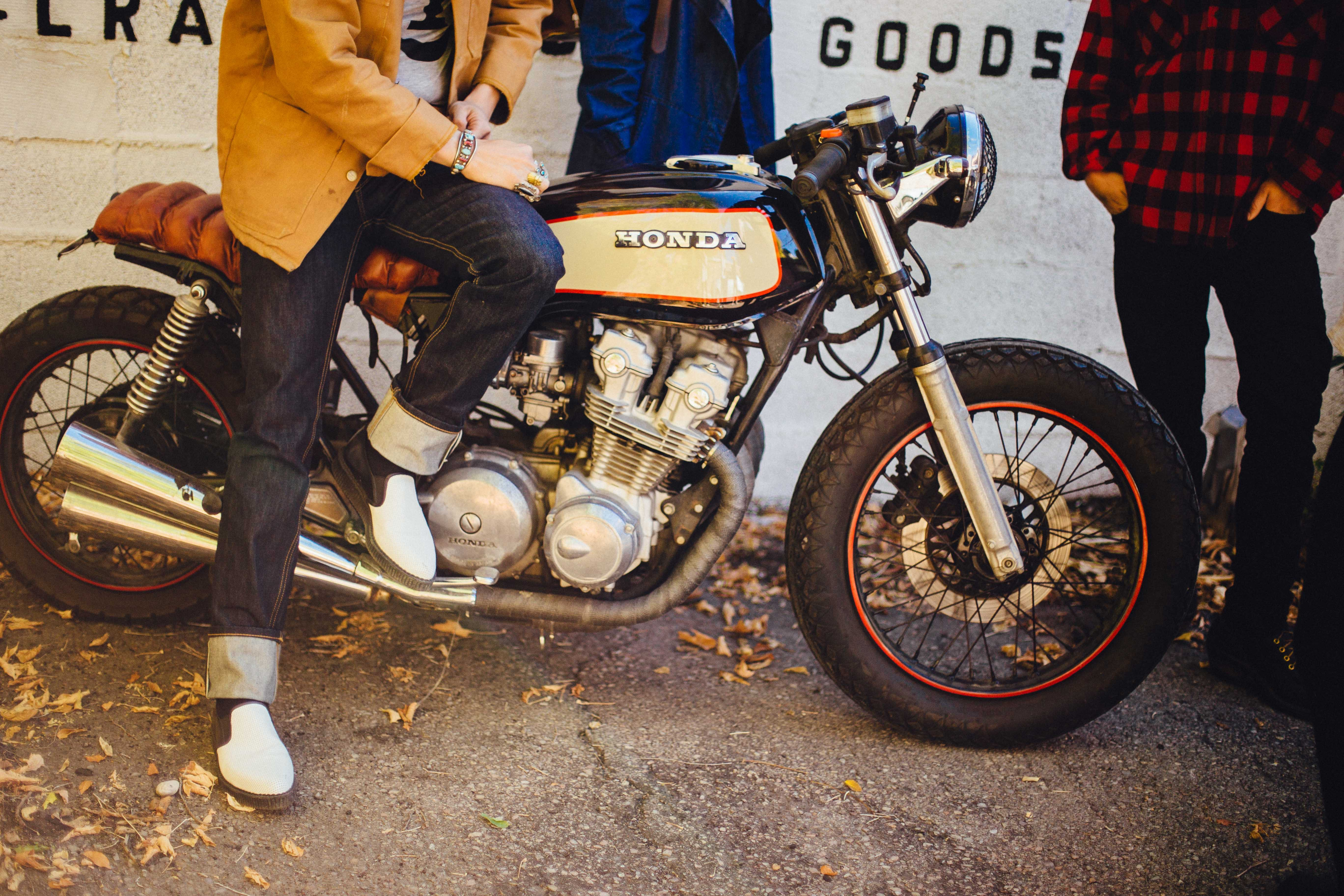 black and gray Honda cafe racer