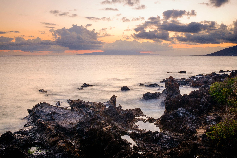 The rocky coastline of Wailea-Makena at sunset