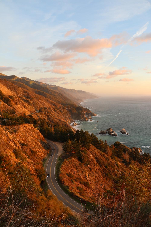 bird's eye photography of road near ocean