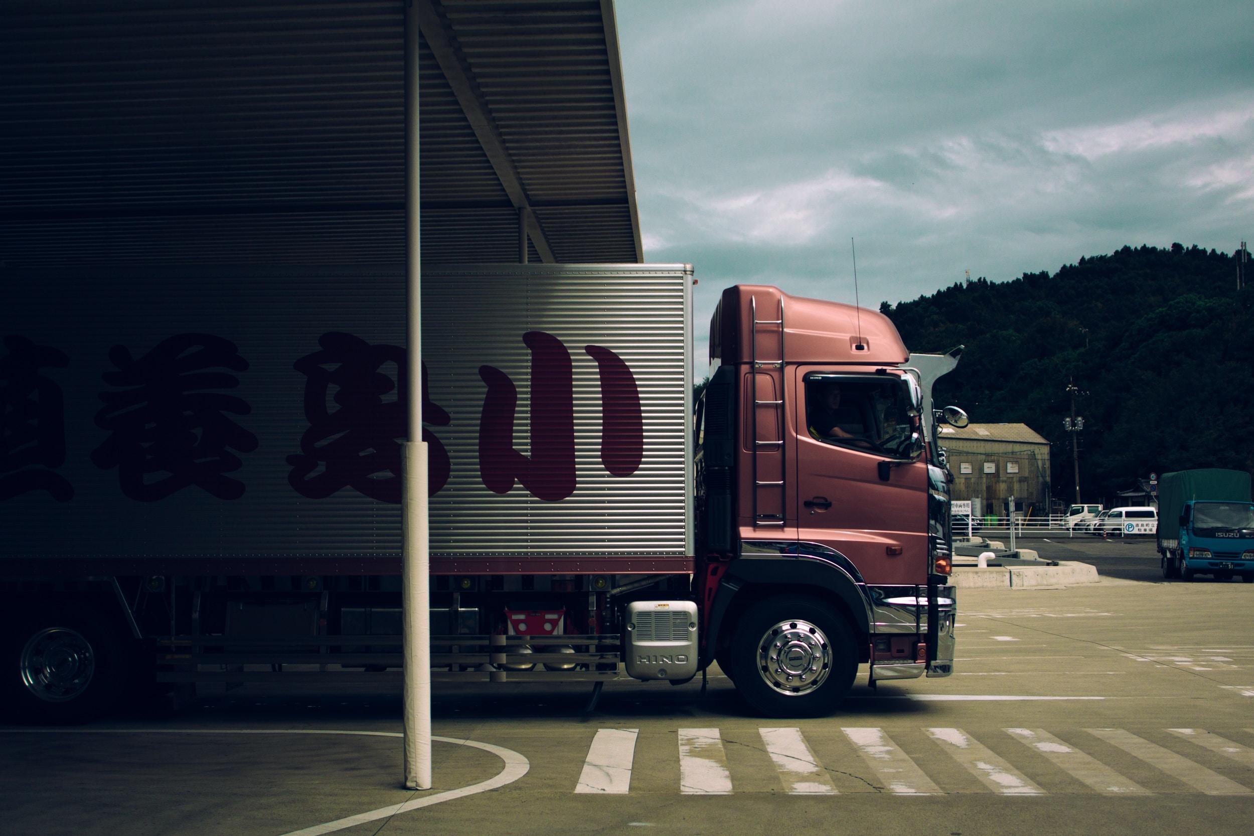 box truck passing through toll gate