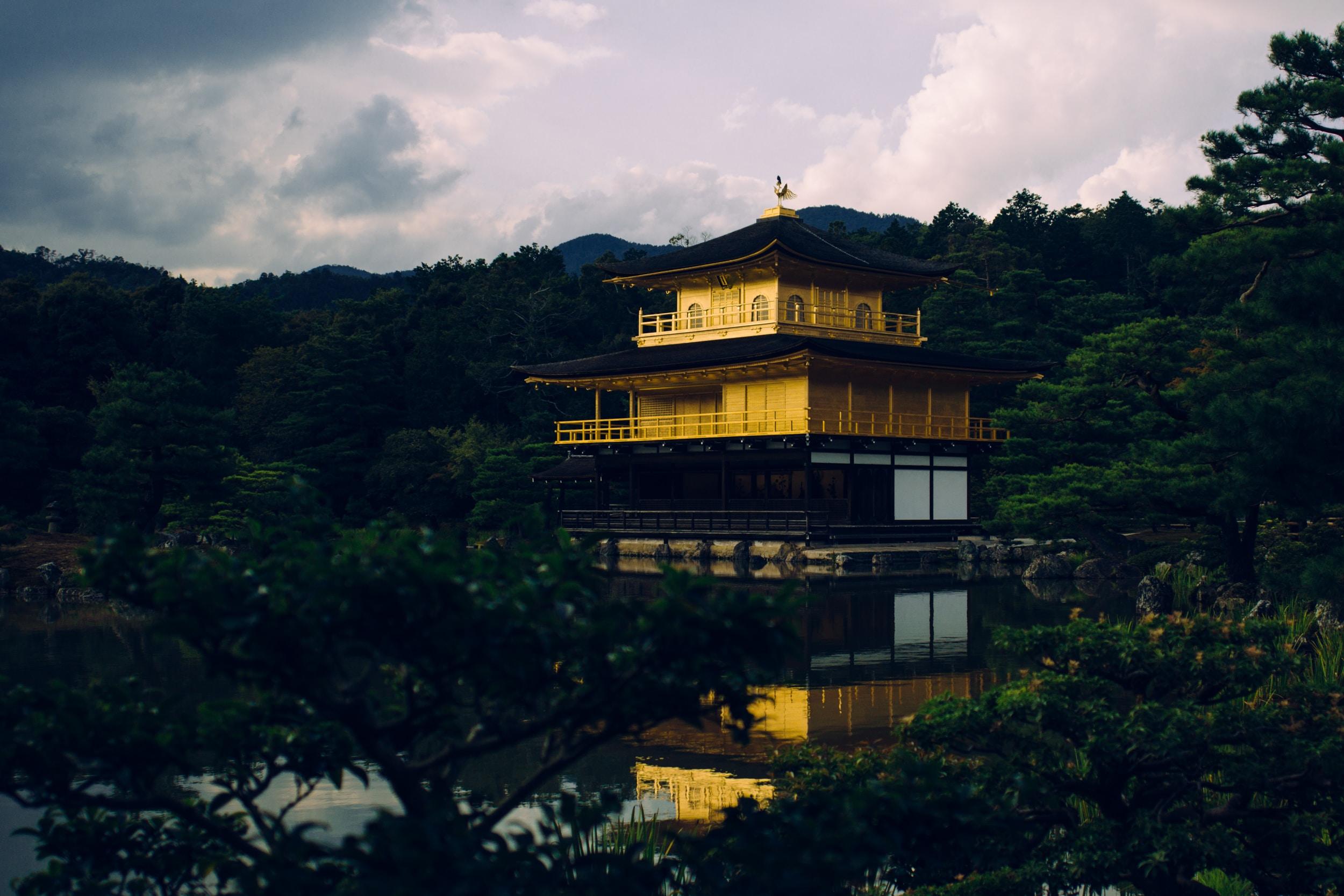 yellow and black pagoda near body of water
