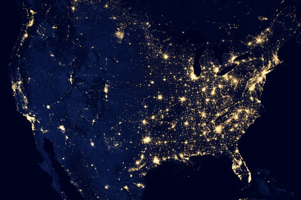 A satellite view of the United States lighting up at night