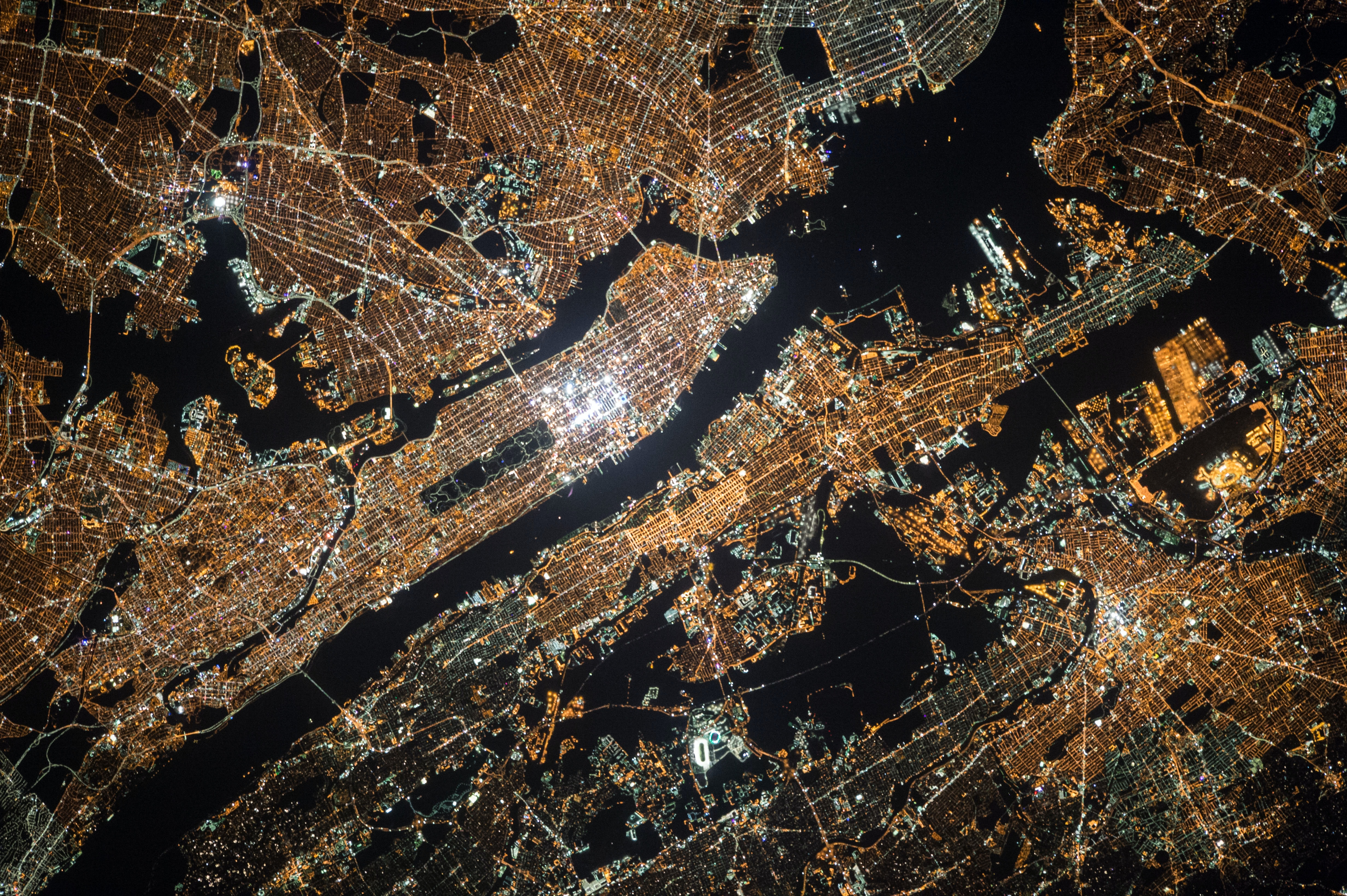 Satellite view of the city lights of New York City at night