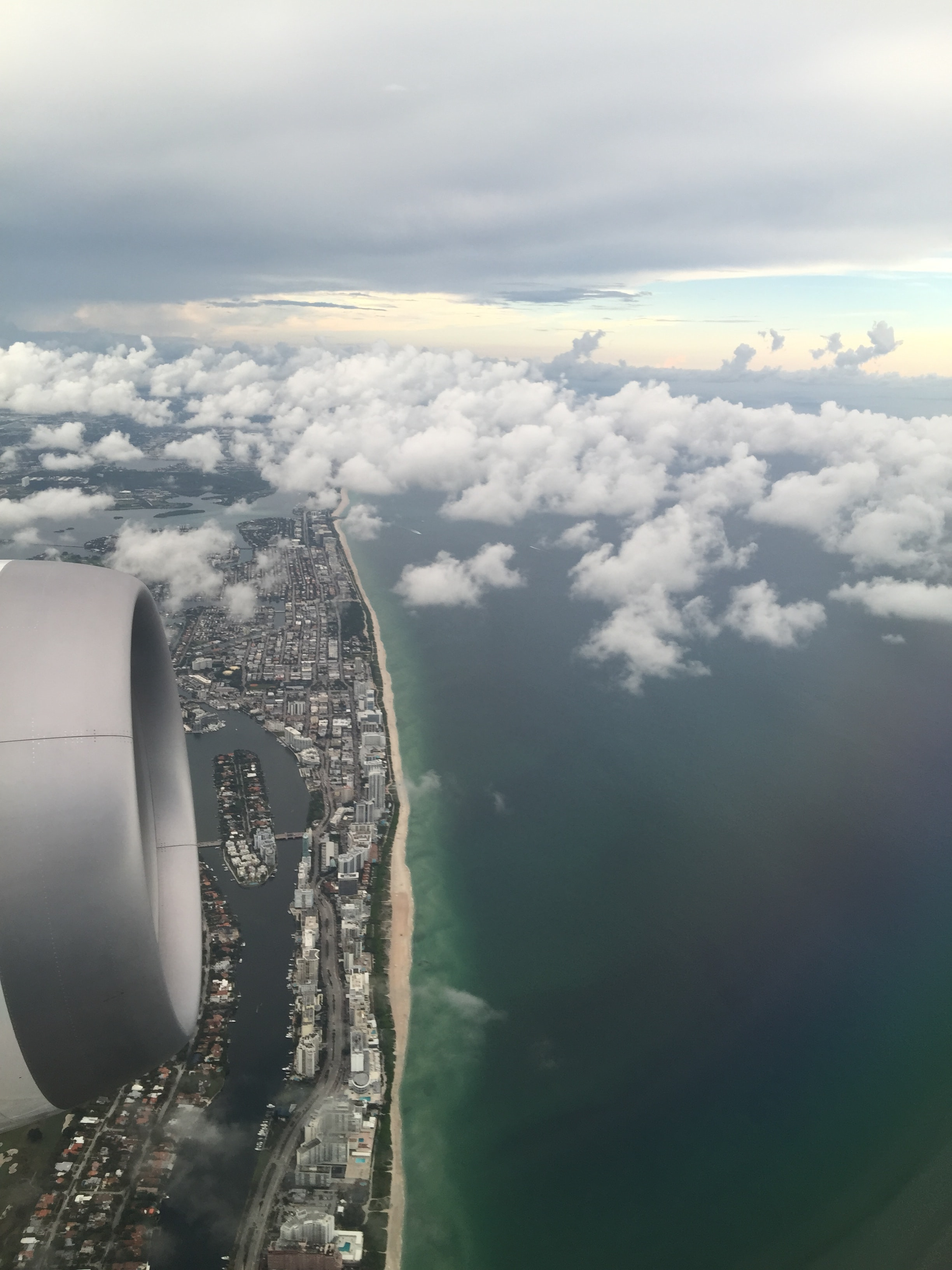 View of the Miami Beach coastline from an airplane