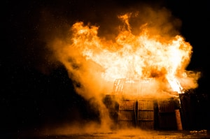 photo of burning house