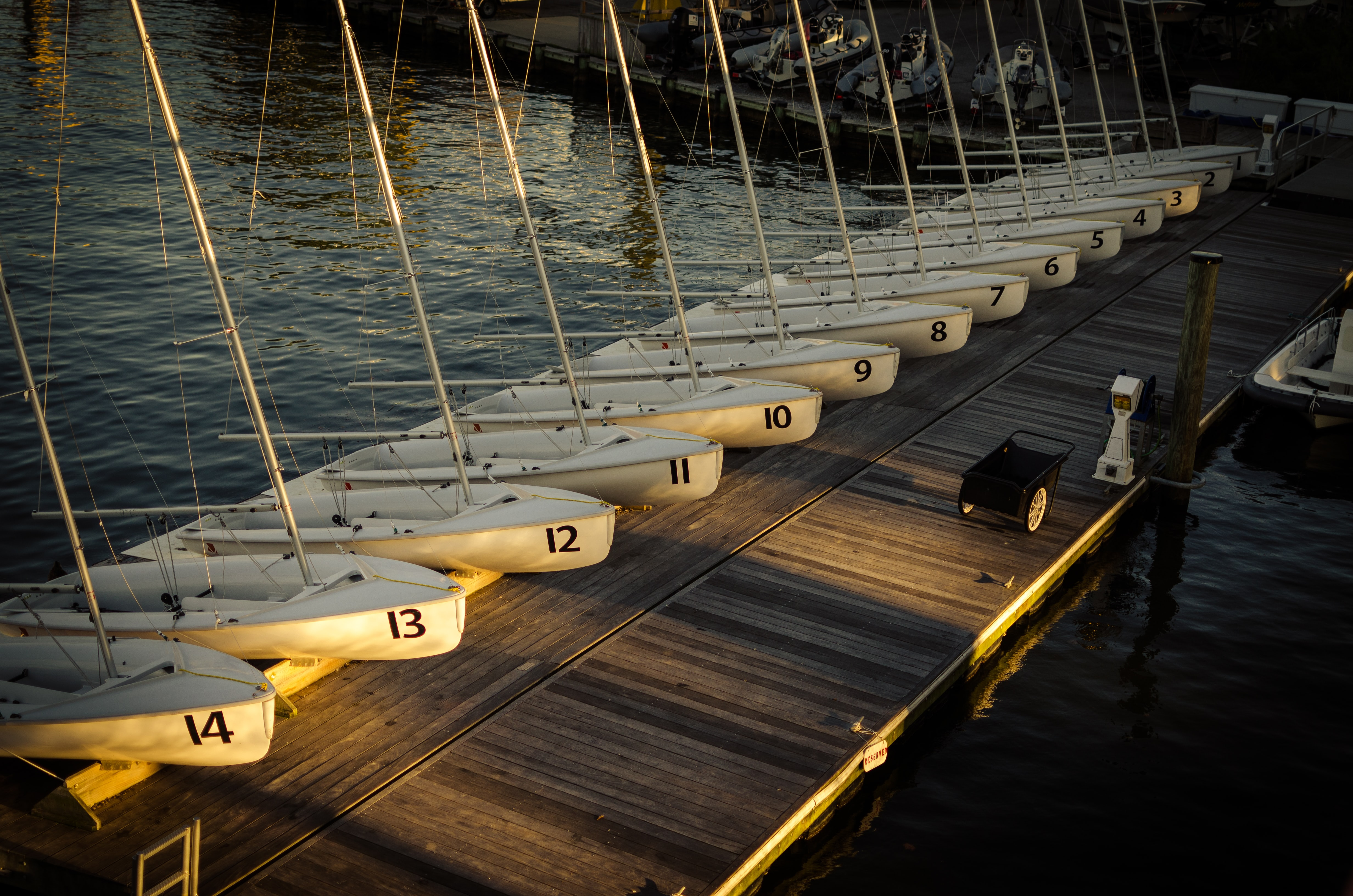 high-angle view of lined white boats on wooden bridge over body of water