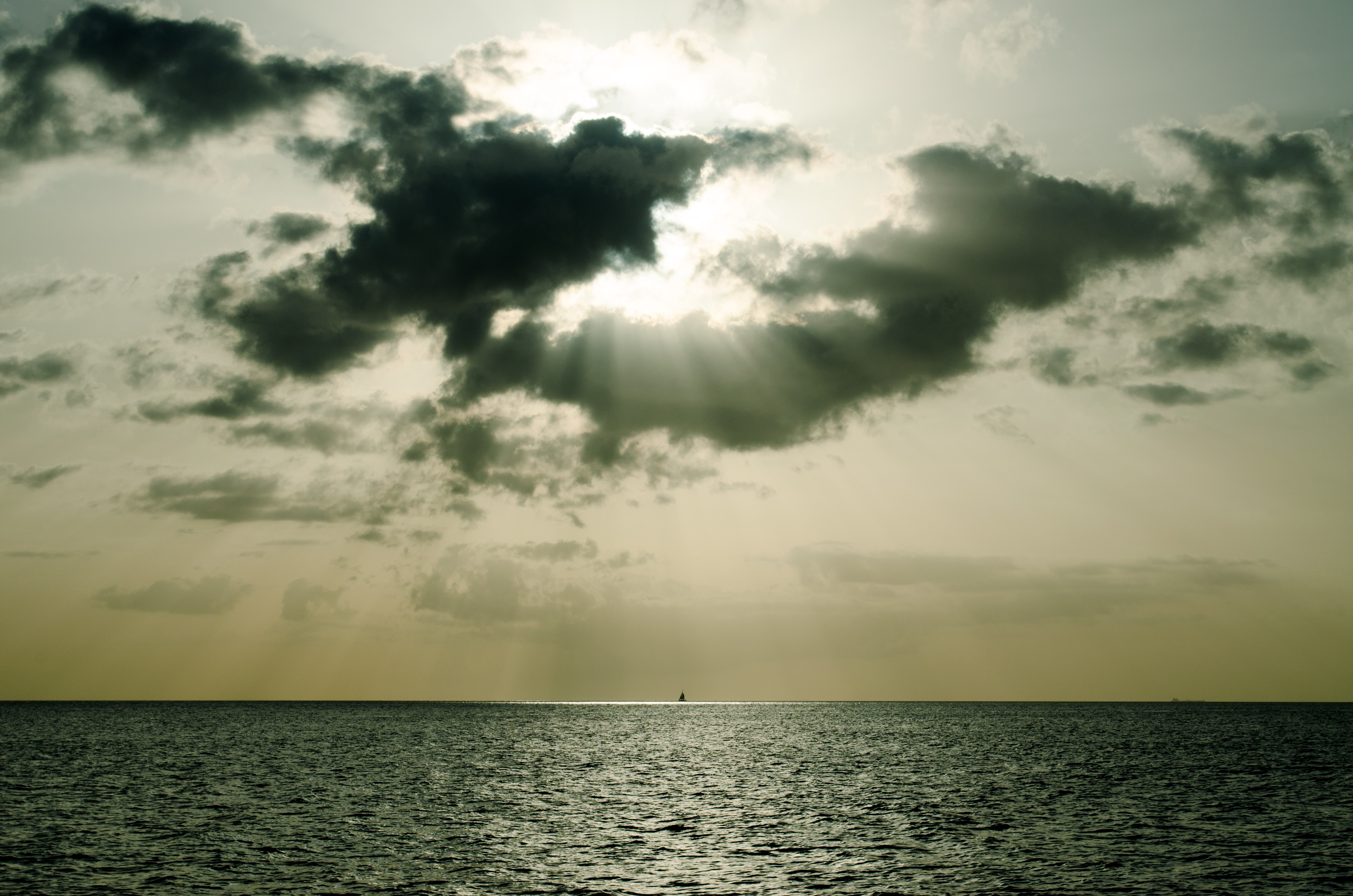 horizontal photography of horizon and sun rays