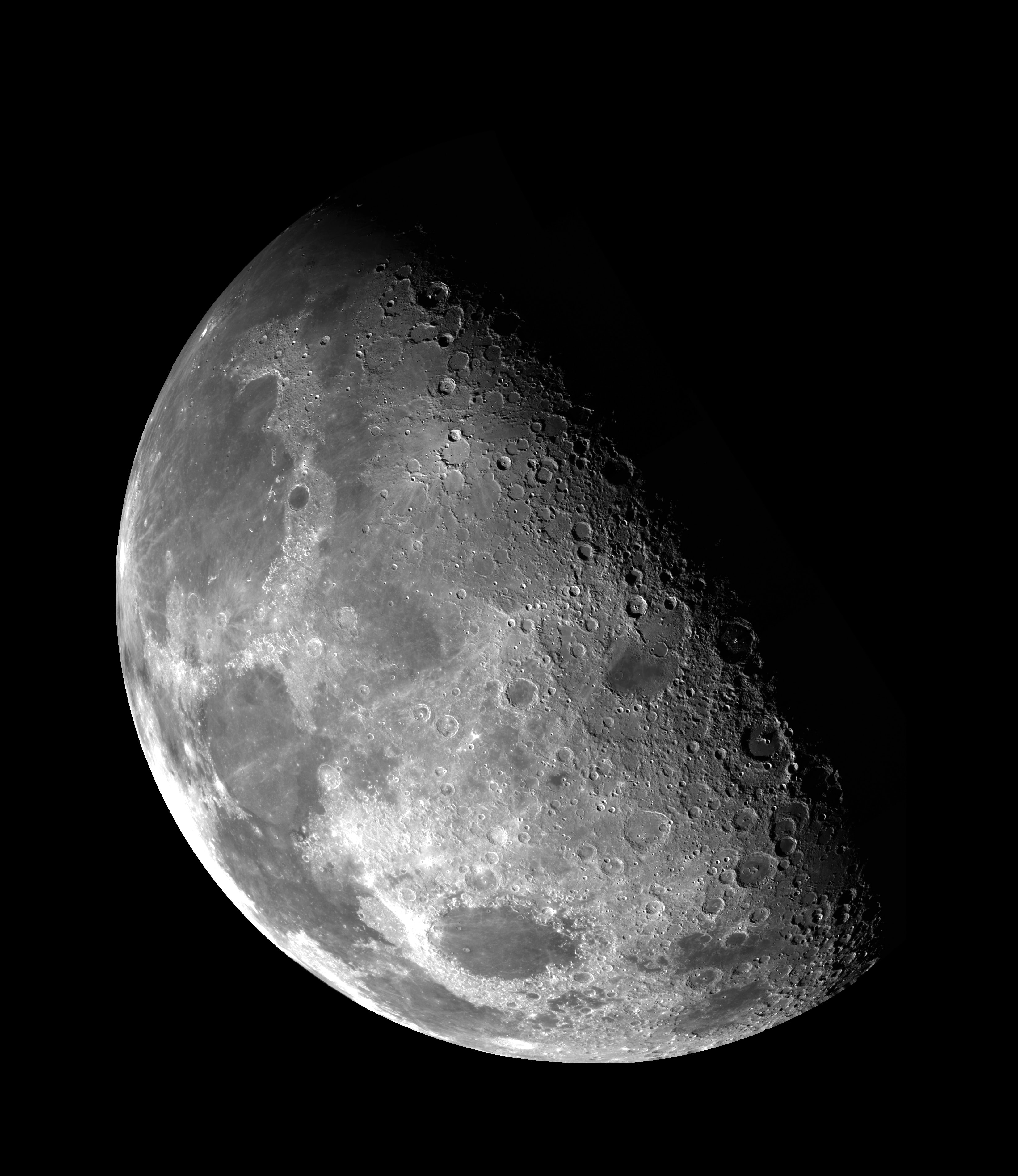 Close up of the moon craters seen through an astronomical telescope