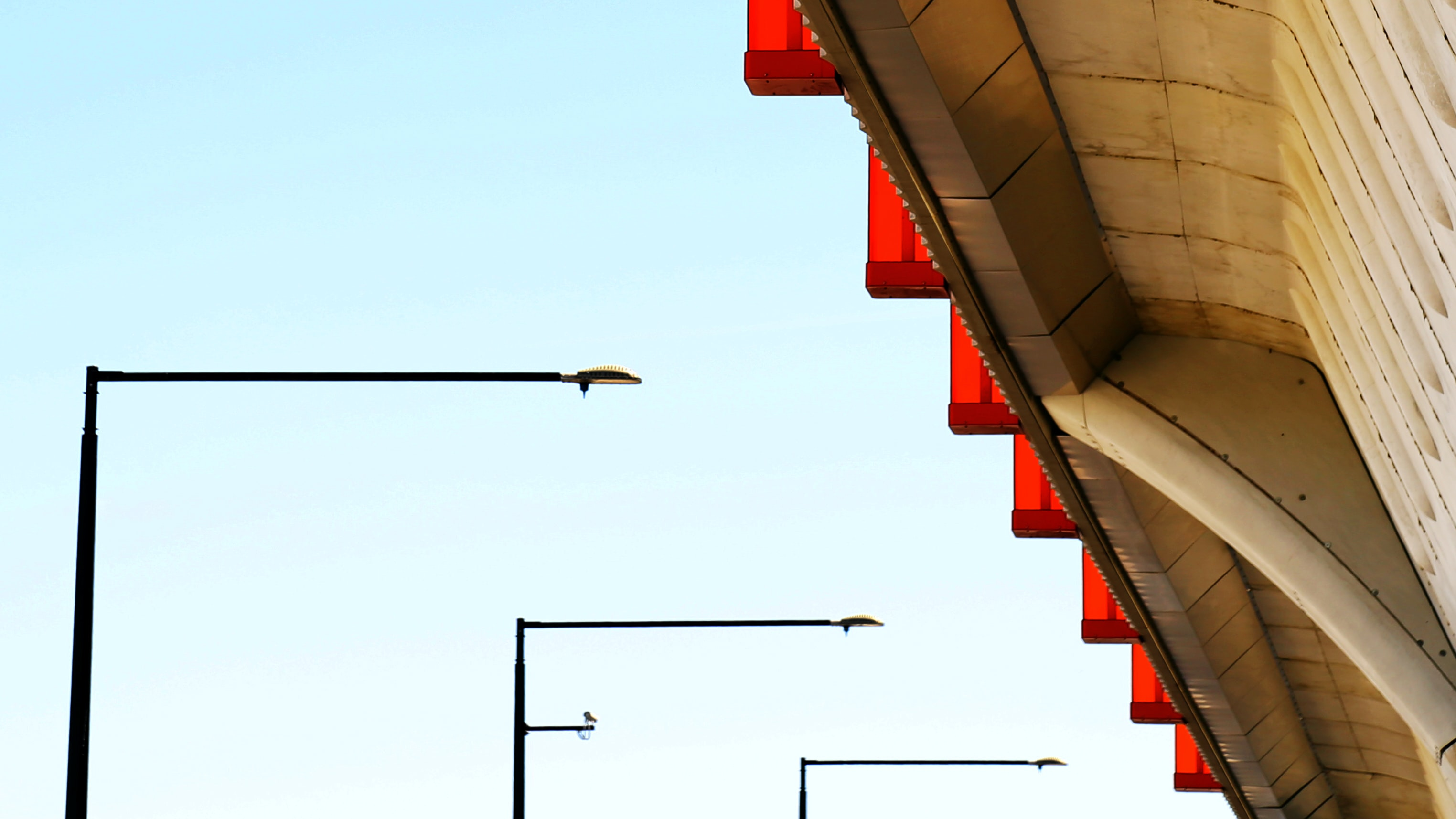 Street Lights and underpass of building form patterns with architecture