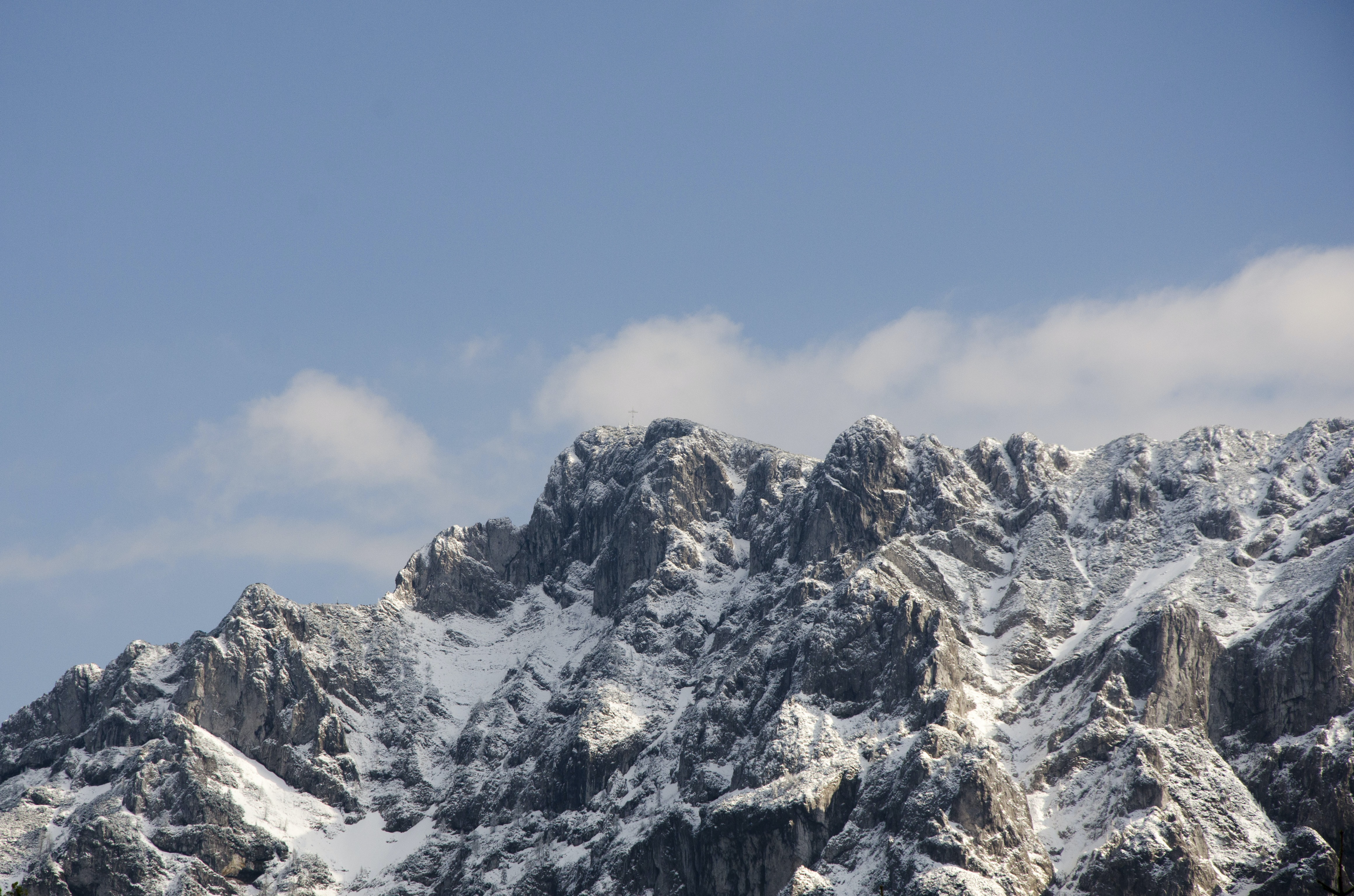Rock and peaks topped with snow in Gmunden, Austria