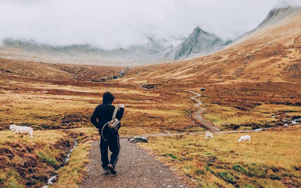 man walking on road towards mountain