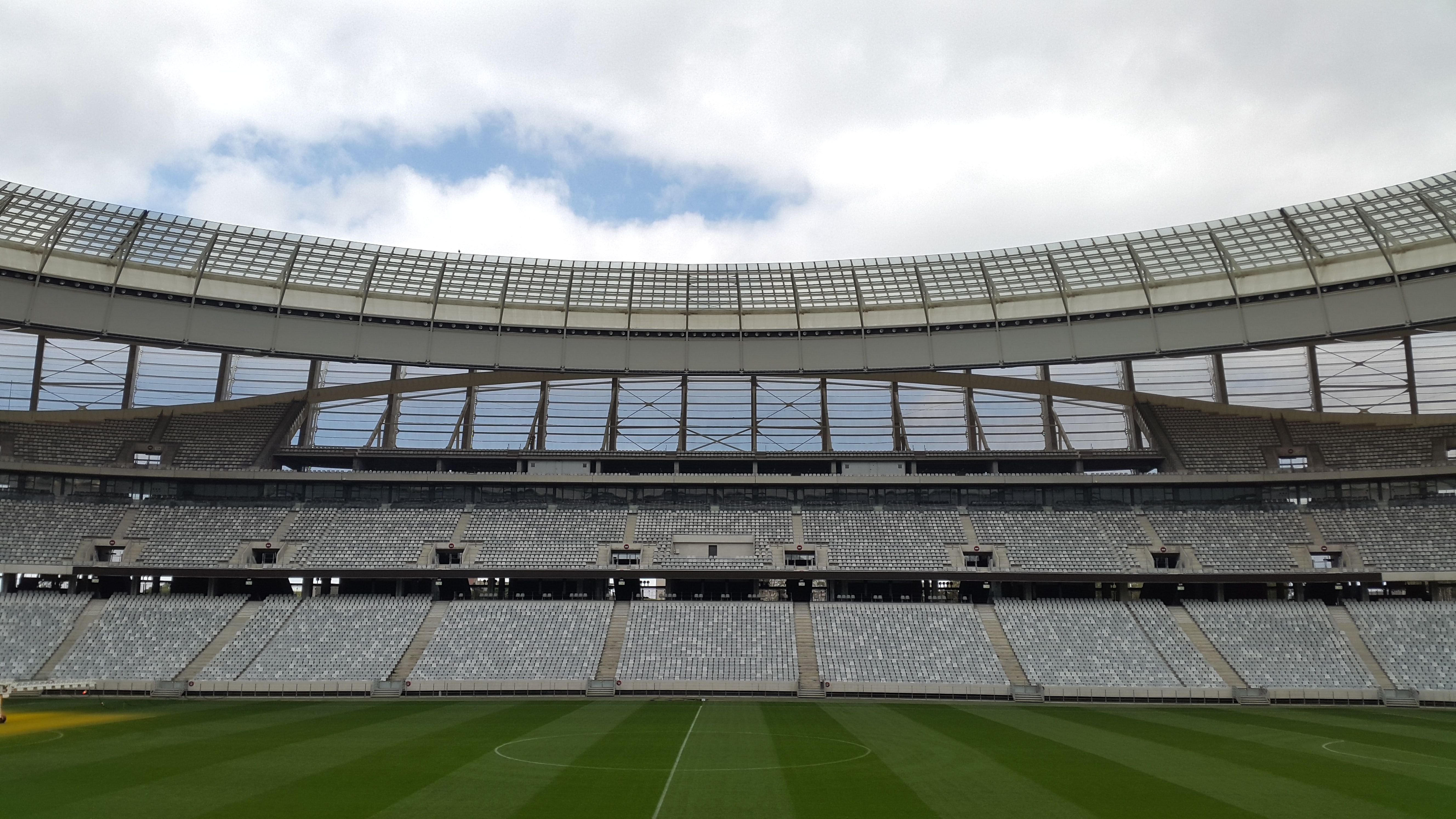 football stadium under cloudy sky