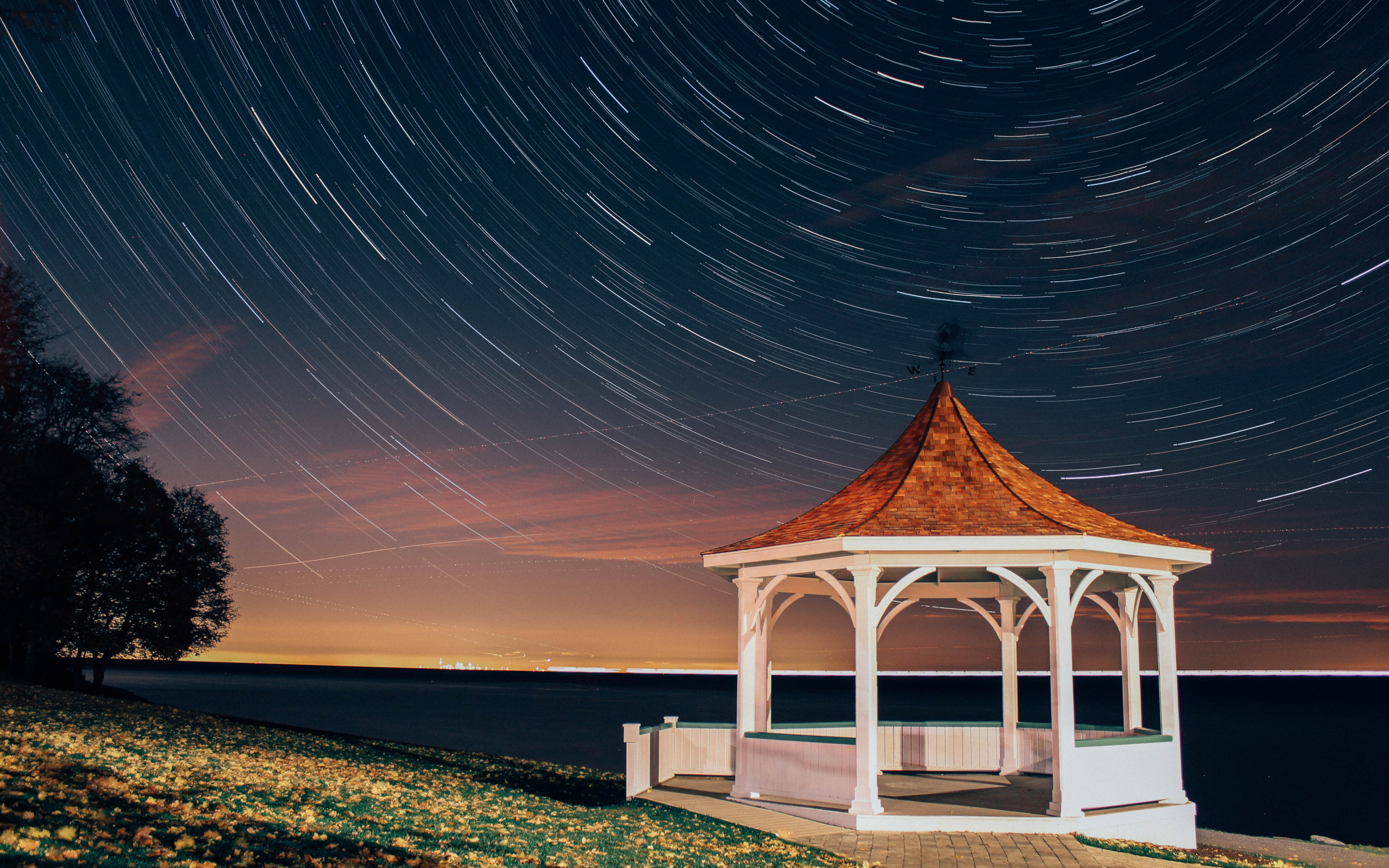 empty gazebo under starry sky