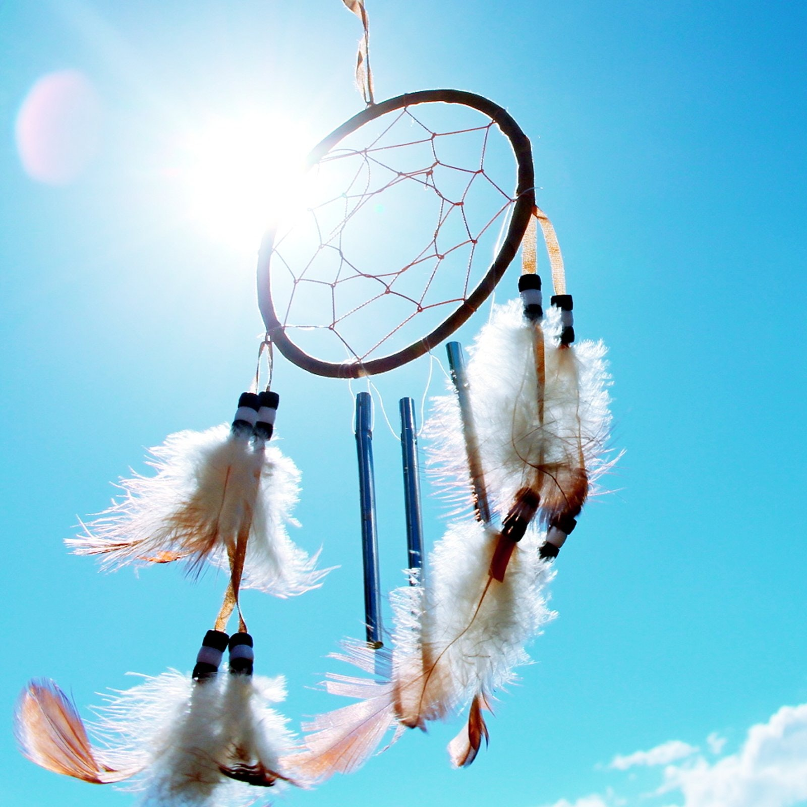 A dreamcatcher with the bright sunny sky in the background in Arizona.