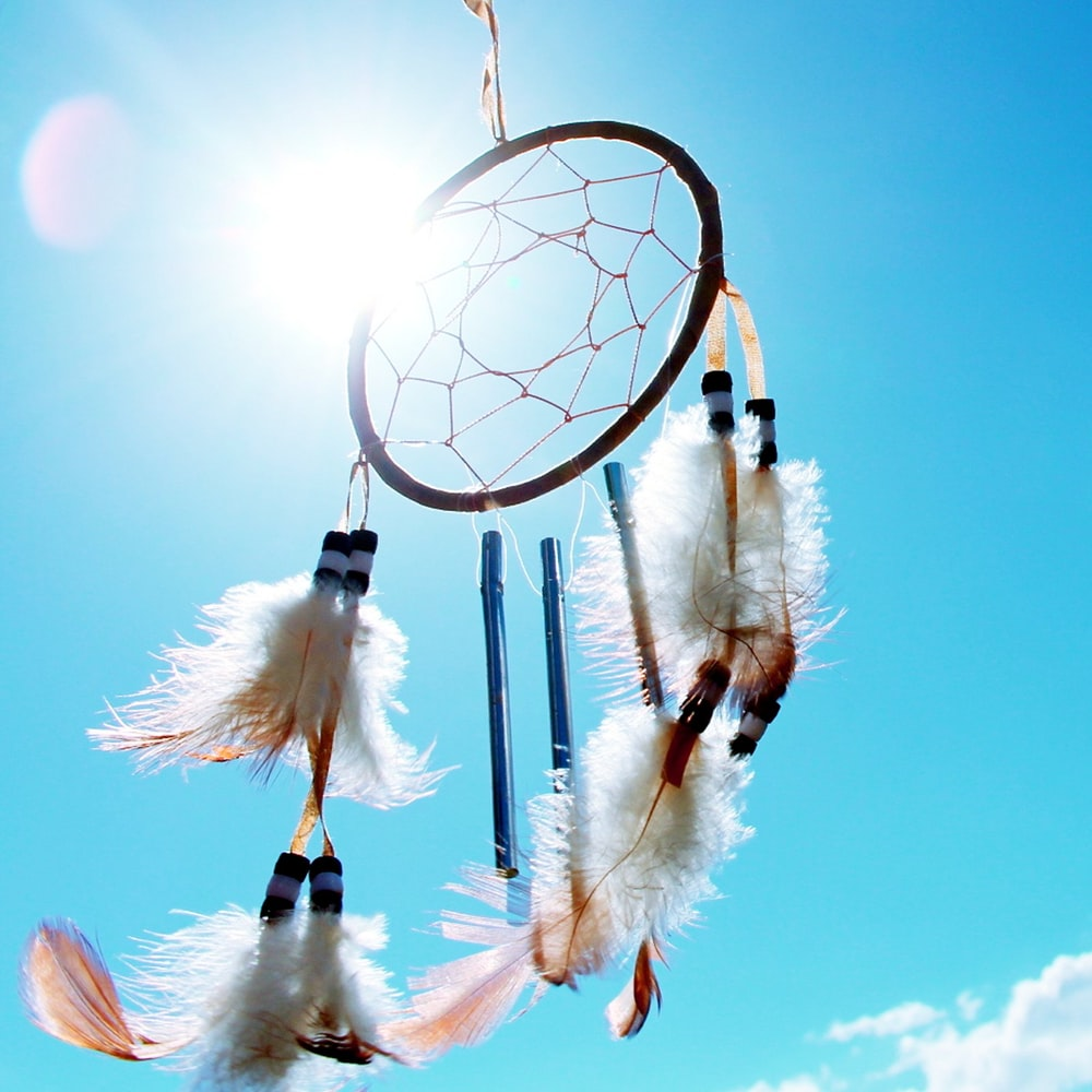 worm's eyeview photo of dream catcher