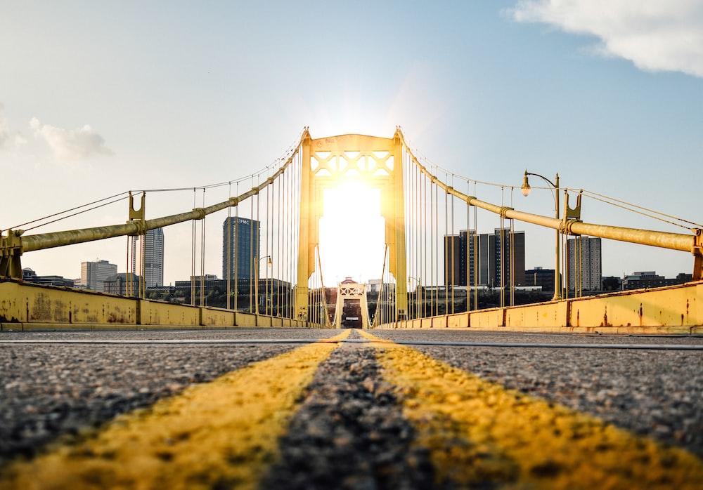 worm's eye view photography of bridge