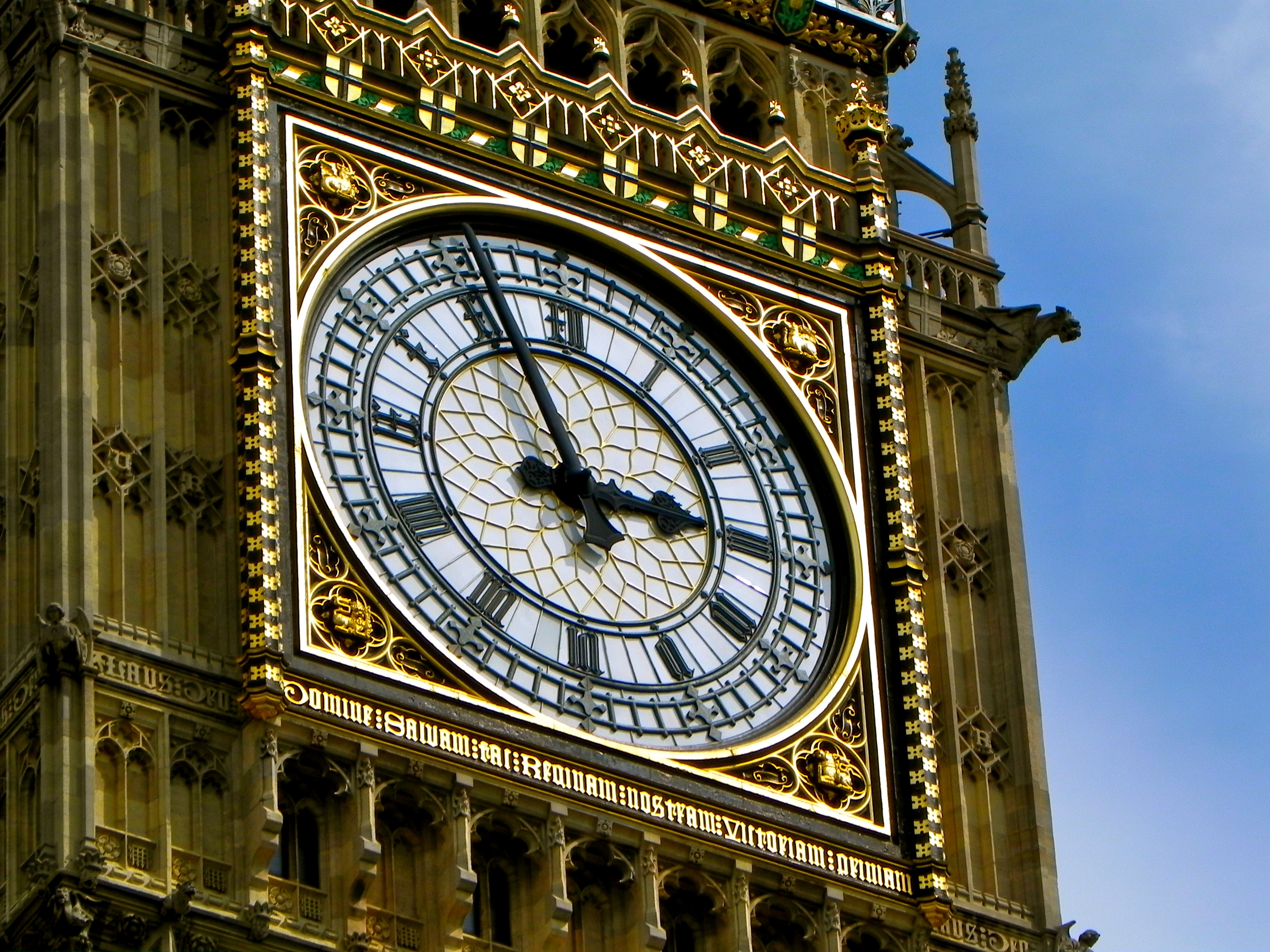 A close-up detail shot of Big Ben in Westminster, London