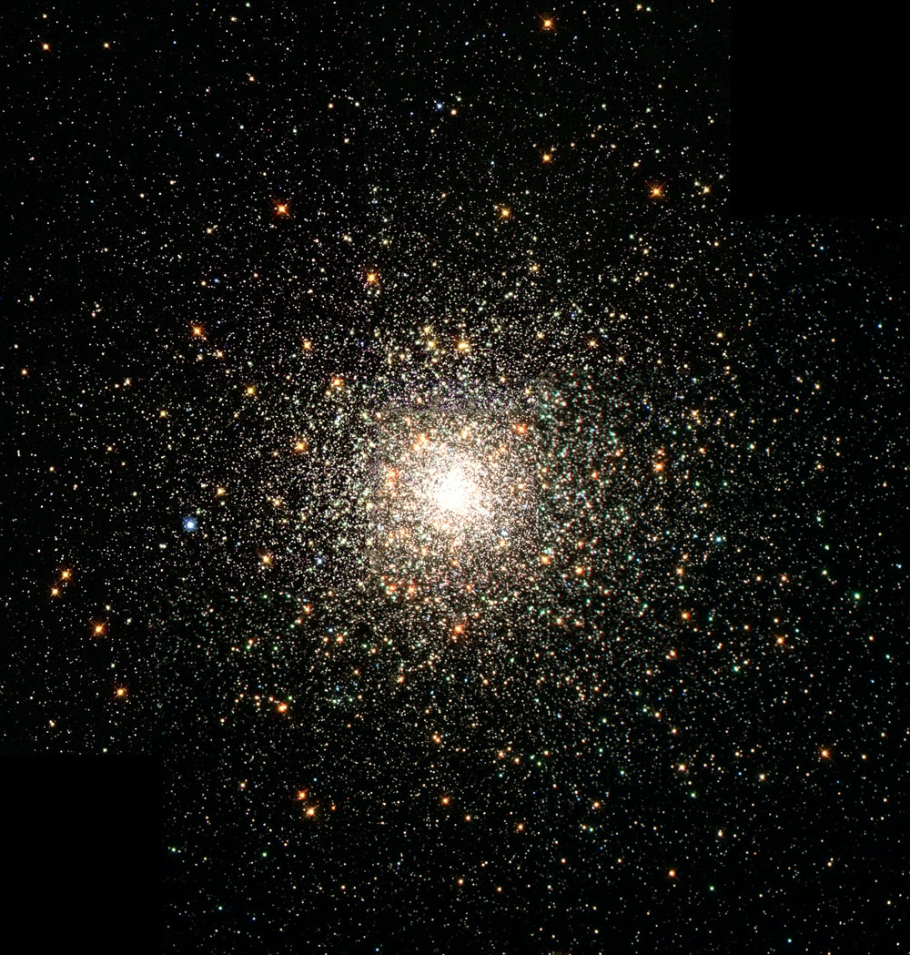A close-up photo of the bright center of a star cluster.