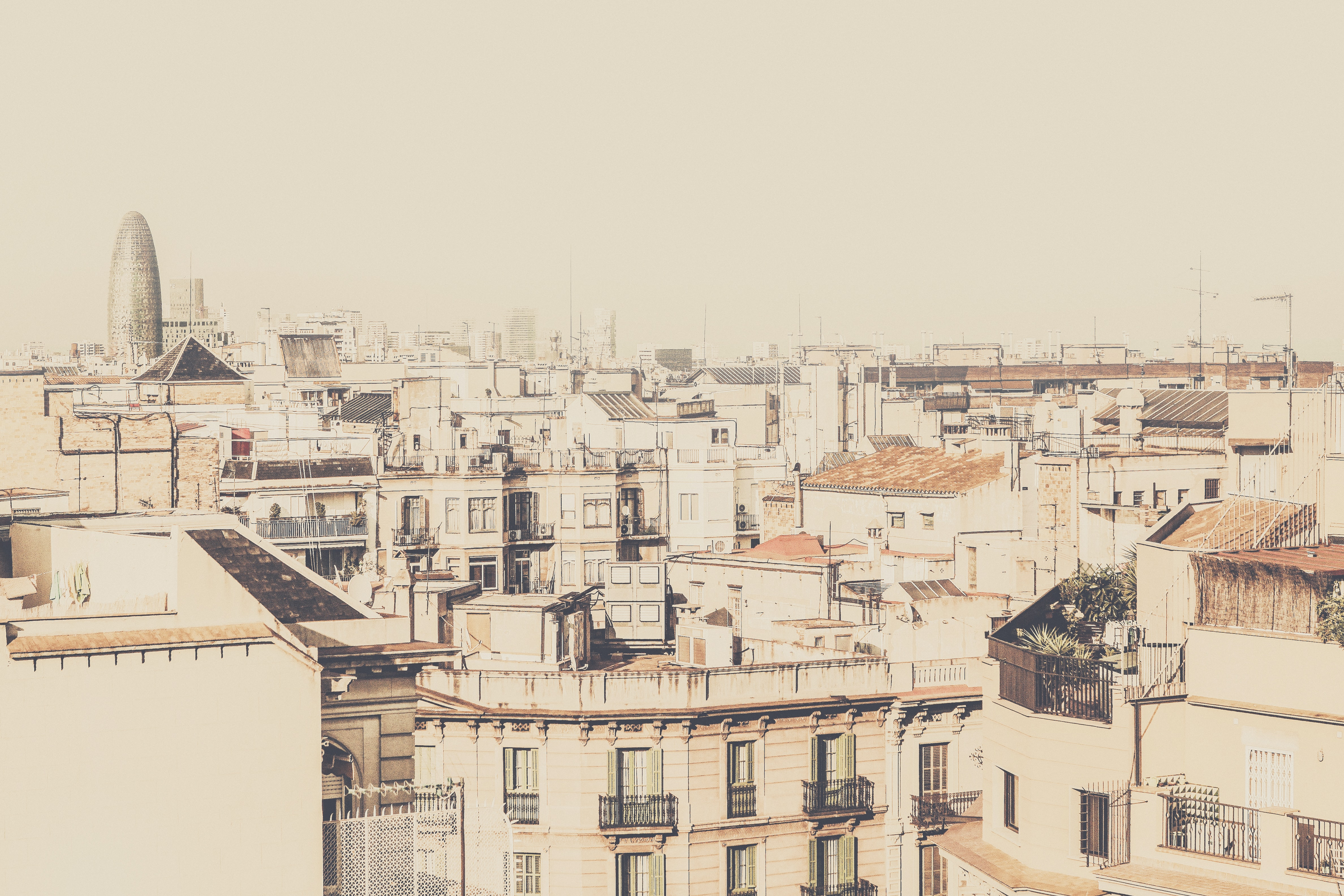 A bright shot of a residential district in Barcelona