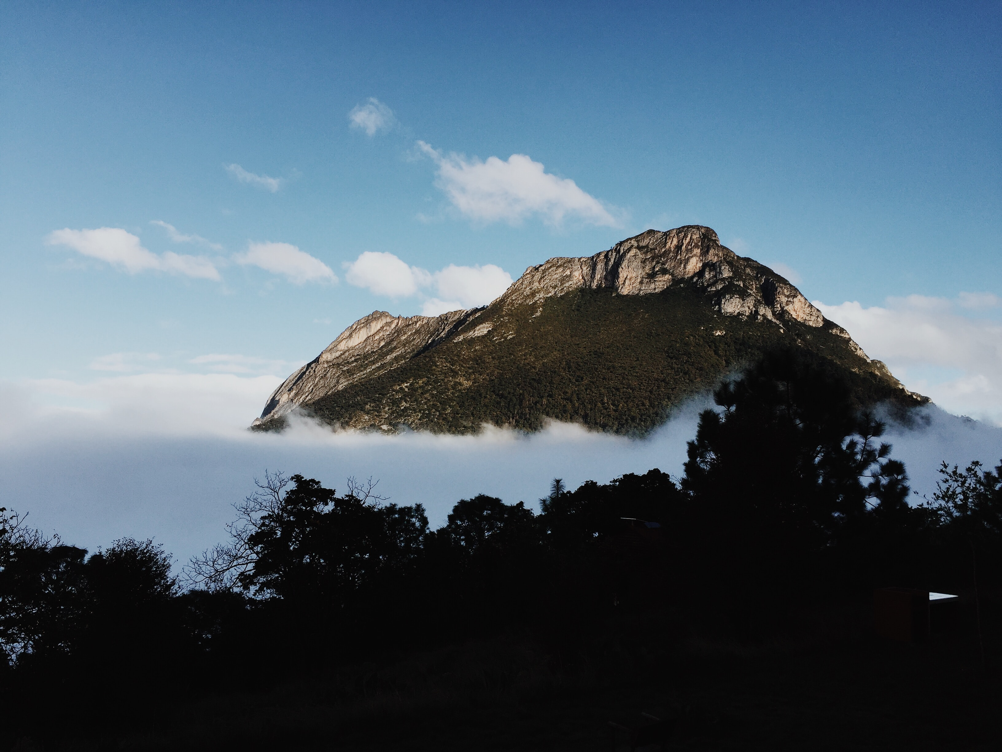 A rocky mountaintop emerging from a thick layer of fog at the foot of the mountain
