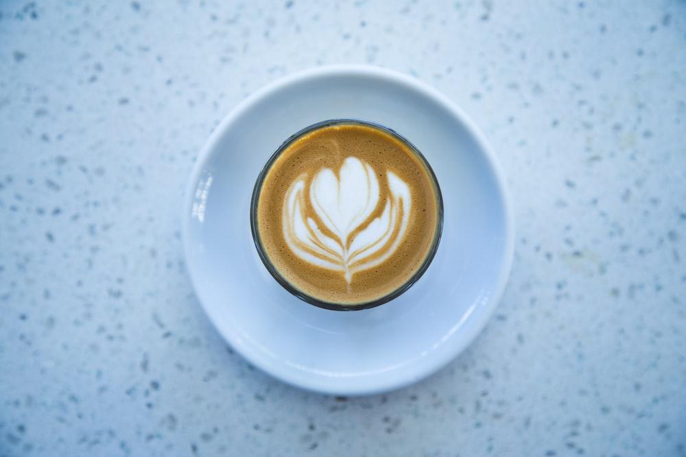 espresso coffee with heart cream formation