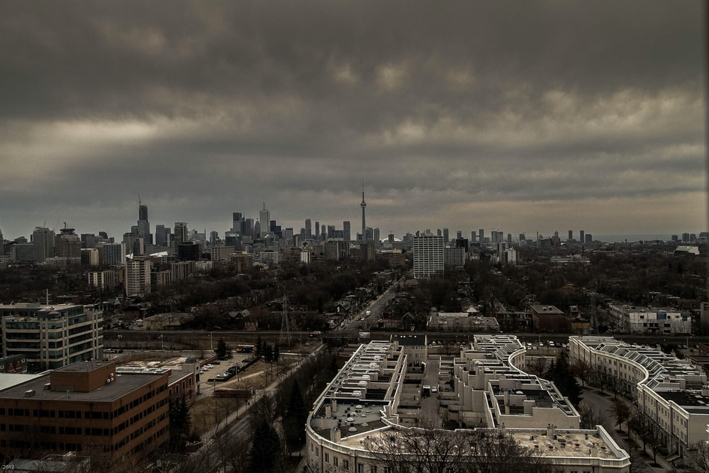 aerial photography of city
