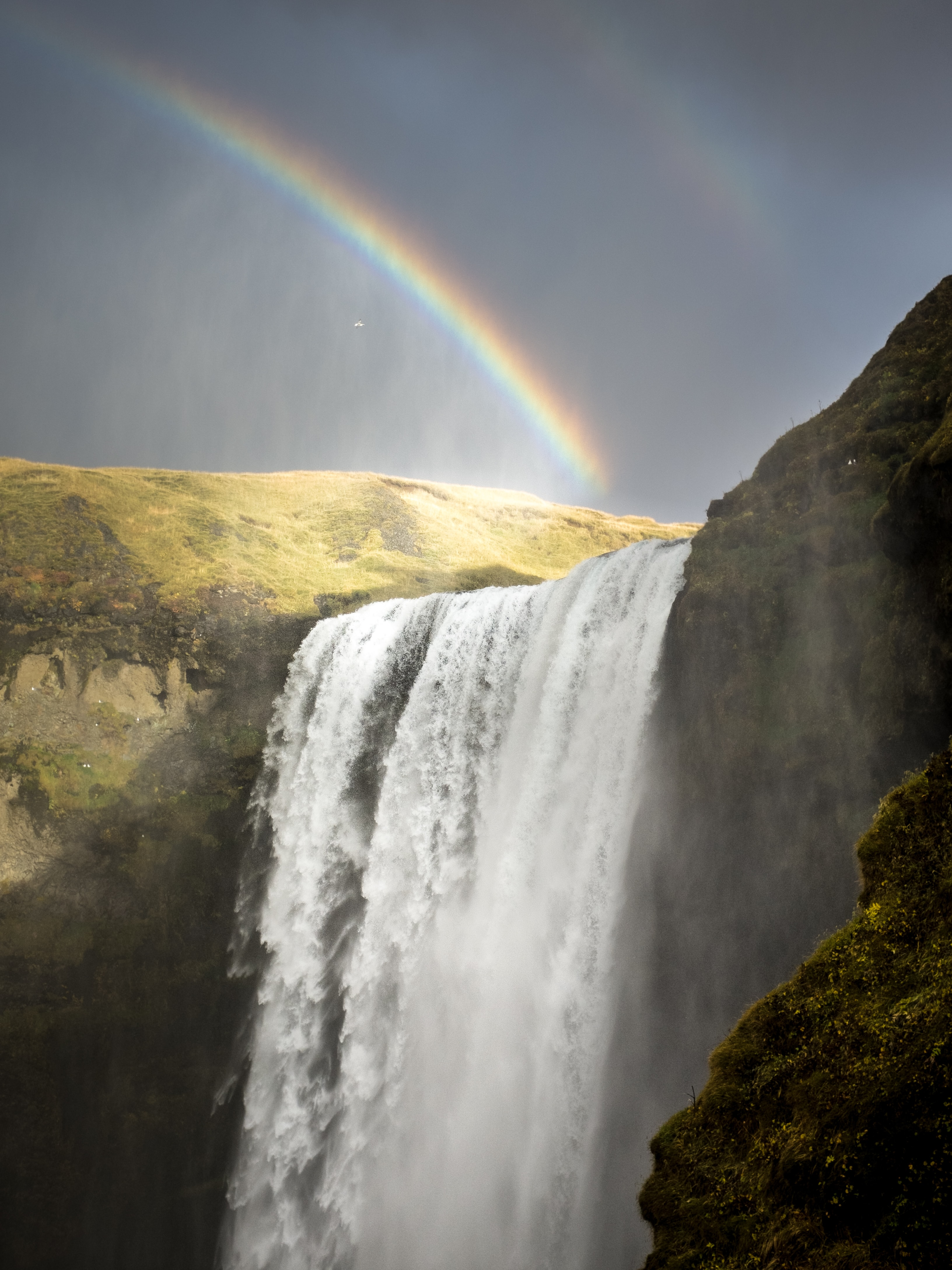 A rainbow over a waterfall pouring down from mossy rocks in Skógafoss