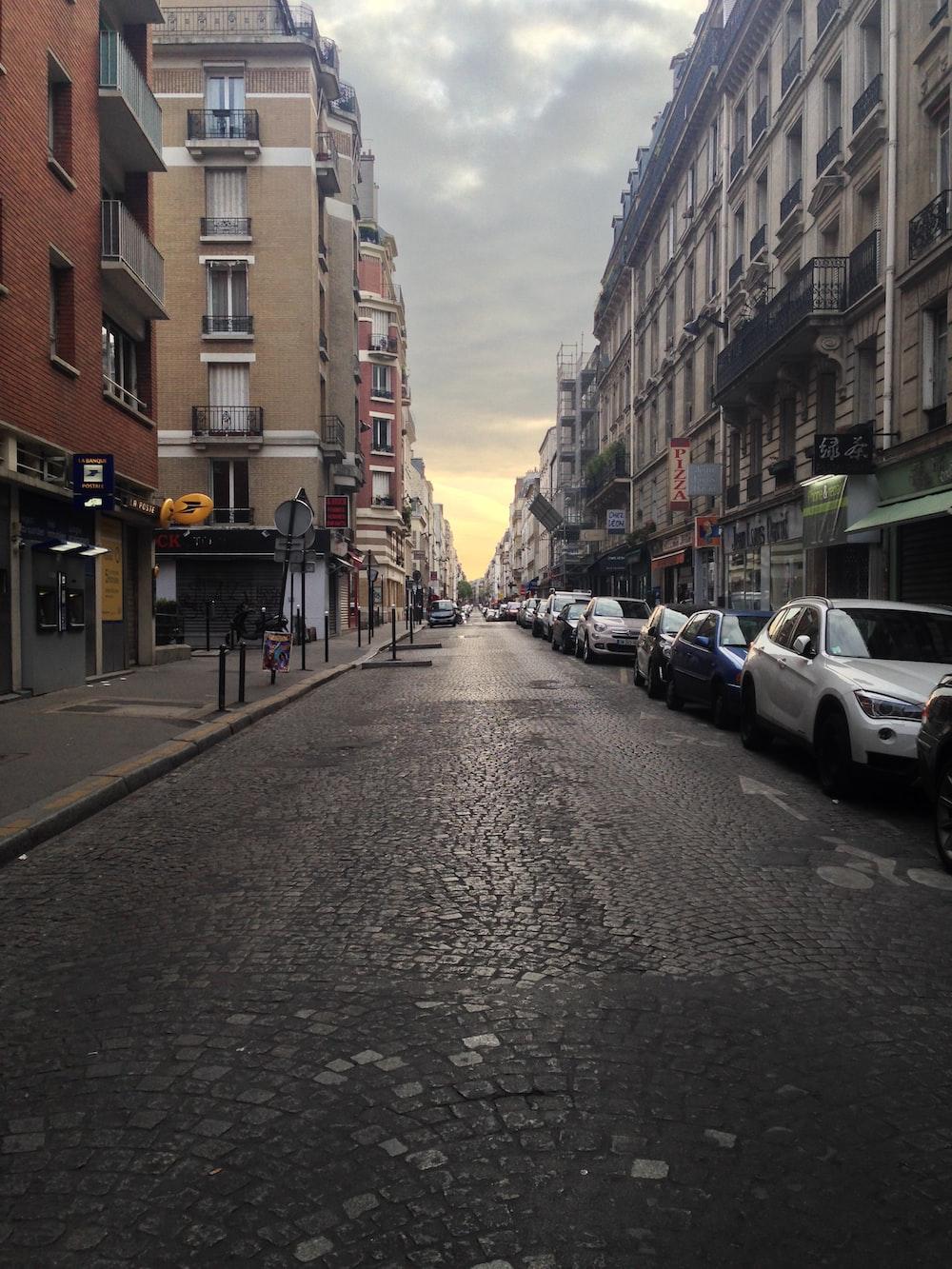 road street between two buildings