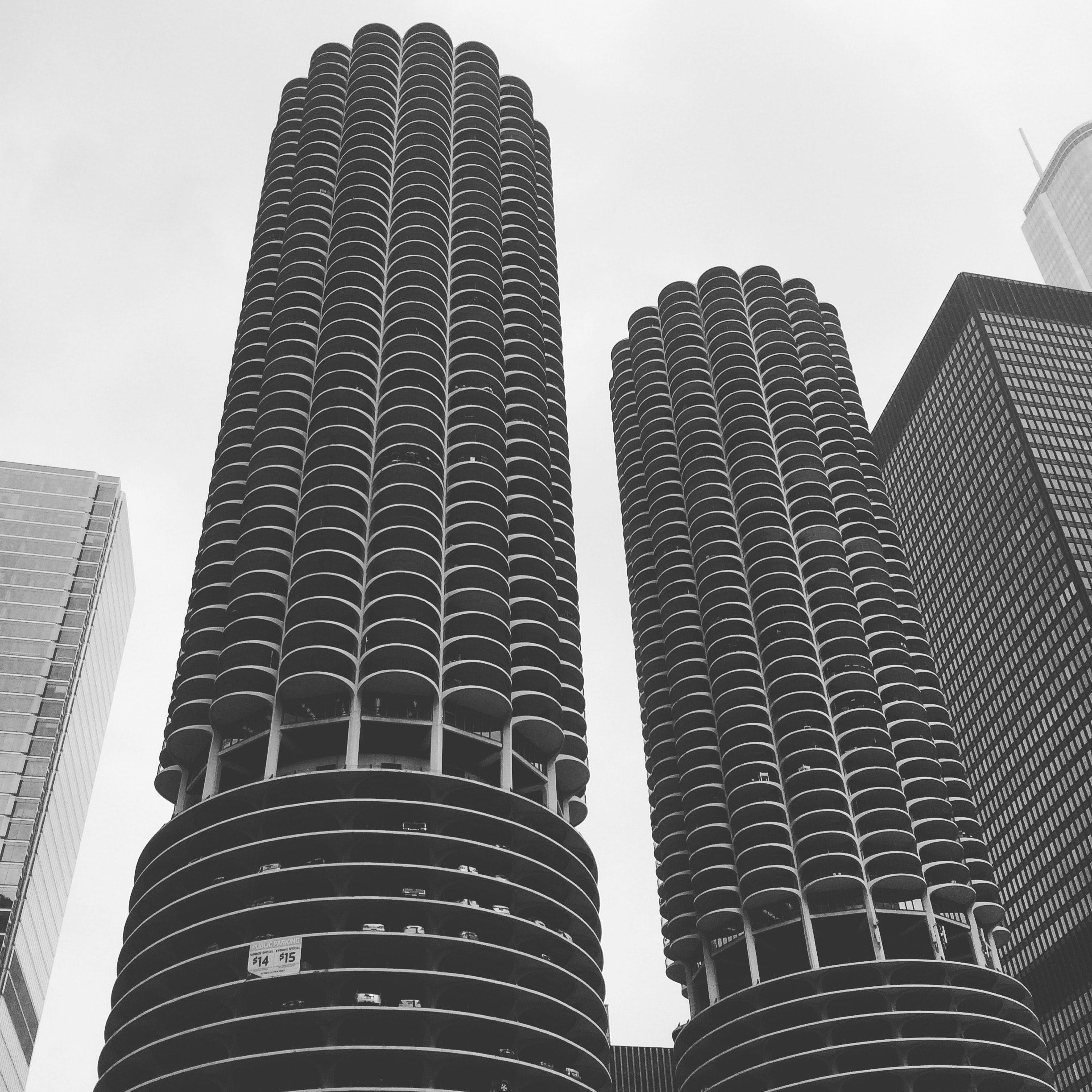 Black and white photo of famous round buildings in Chicago