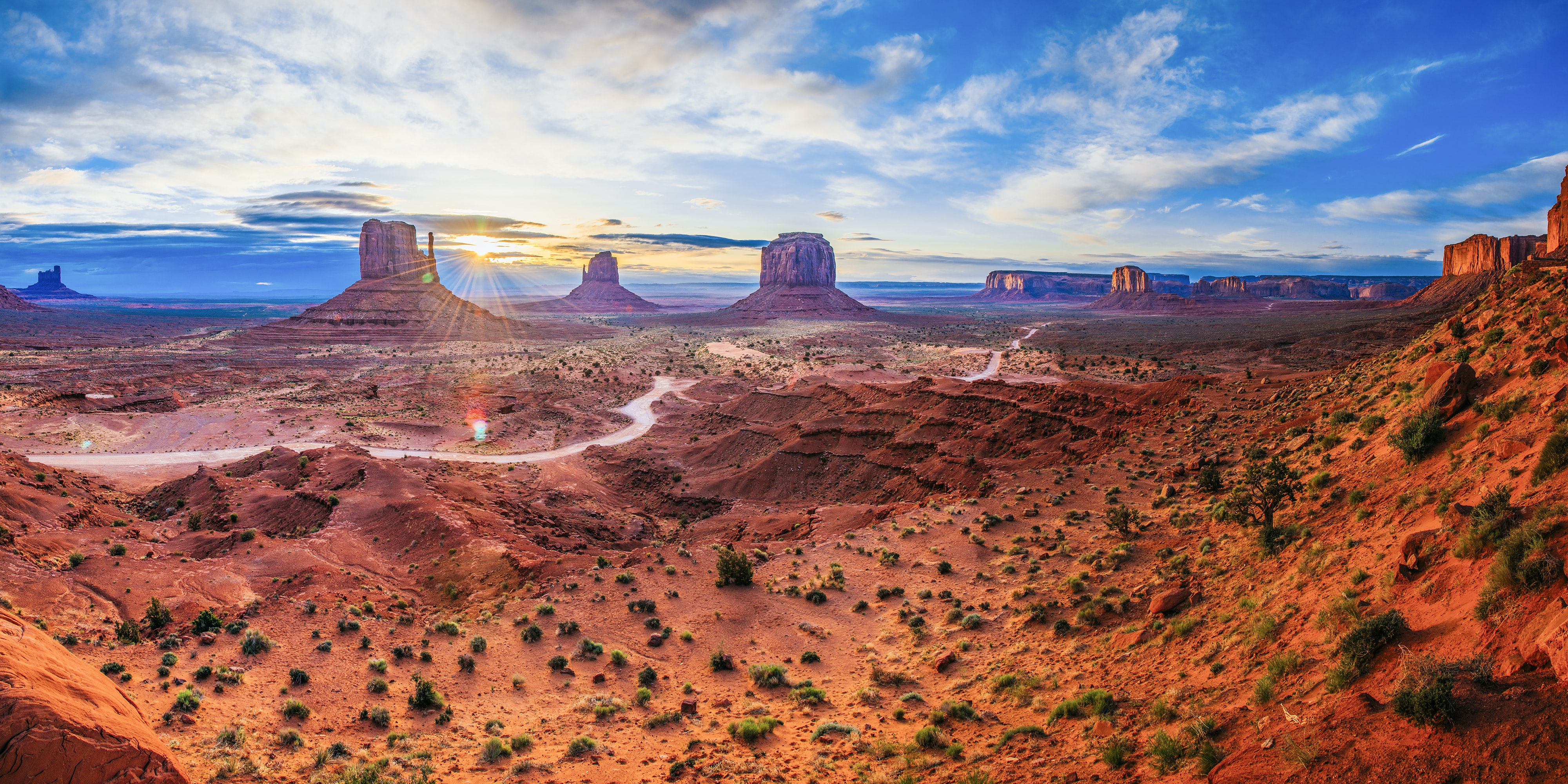 Aerial drone shot of red deserts of Oljato-Monument Valley