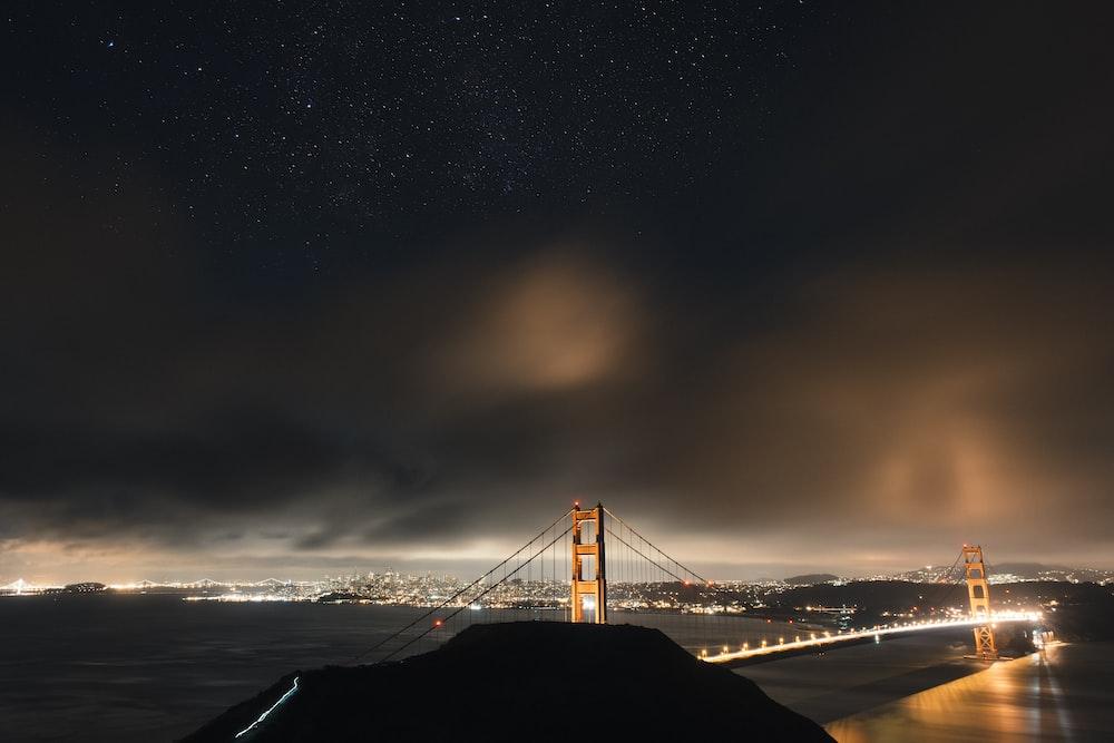 golden bridge during night time