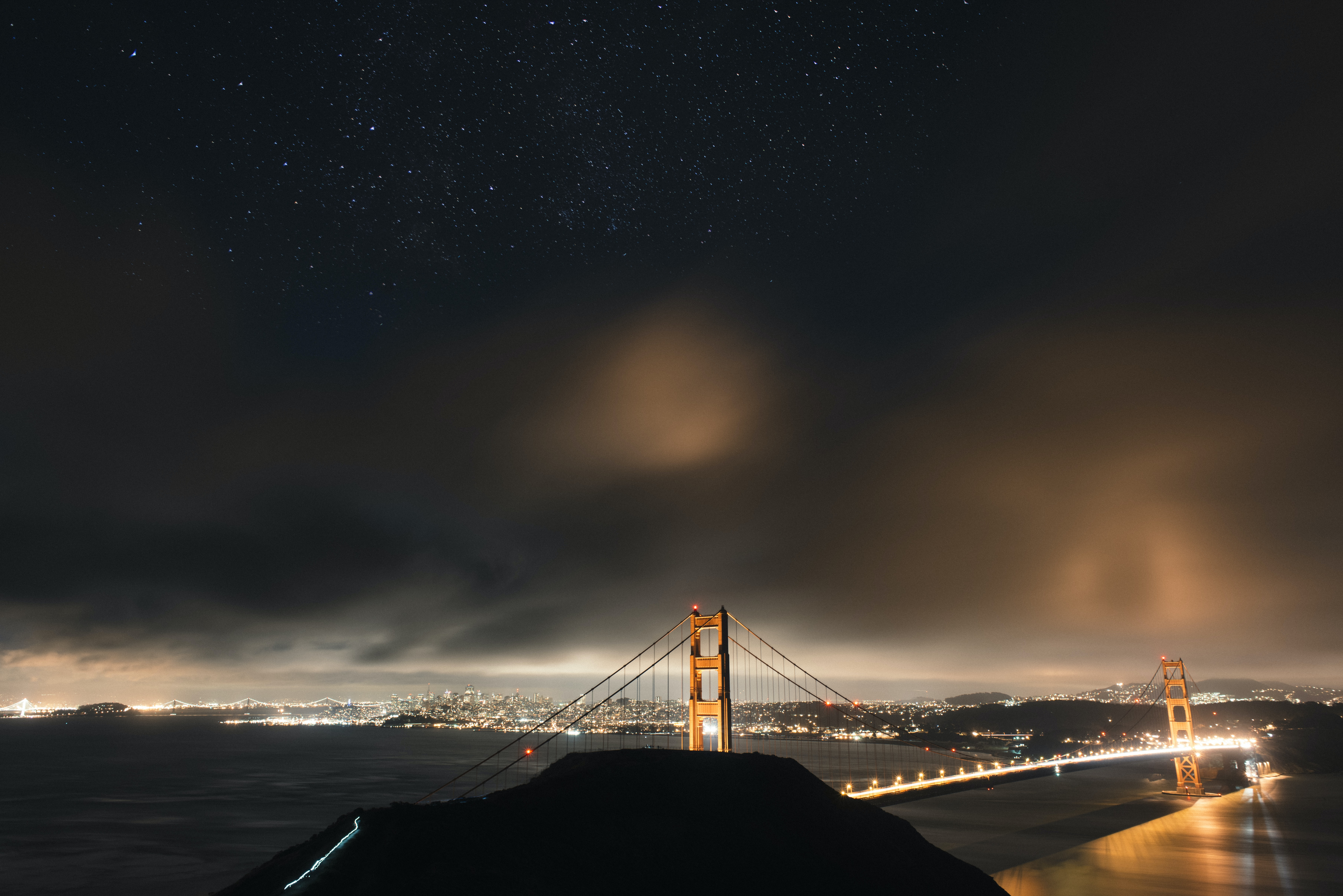 golden bridge during night time