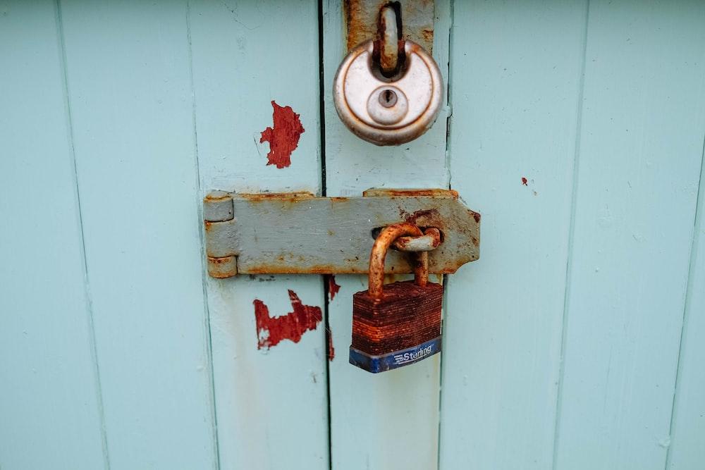 brown metal padlock