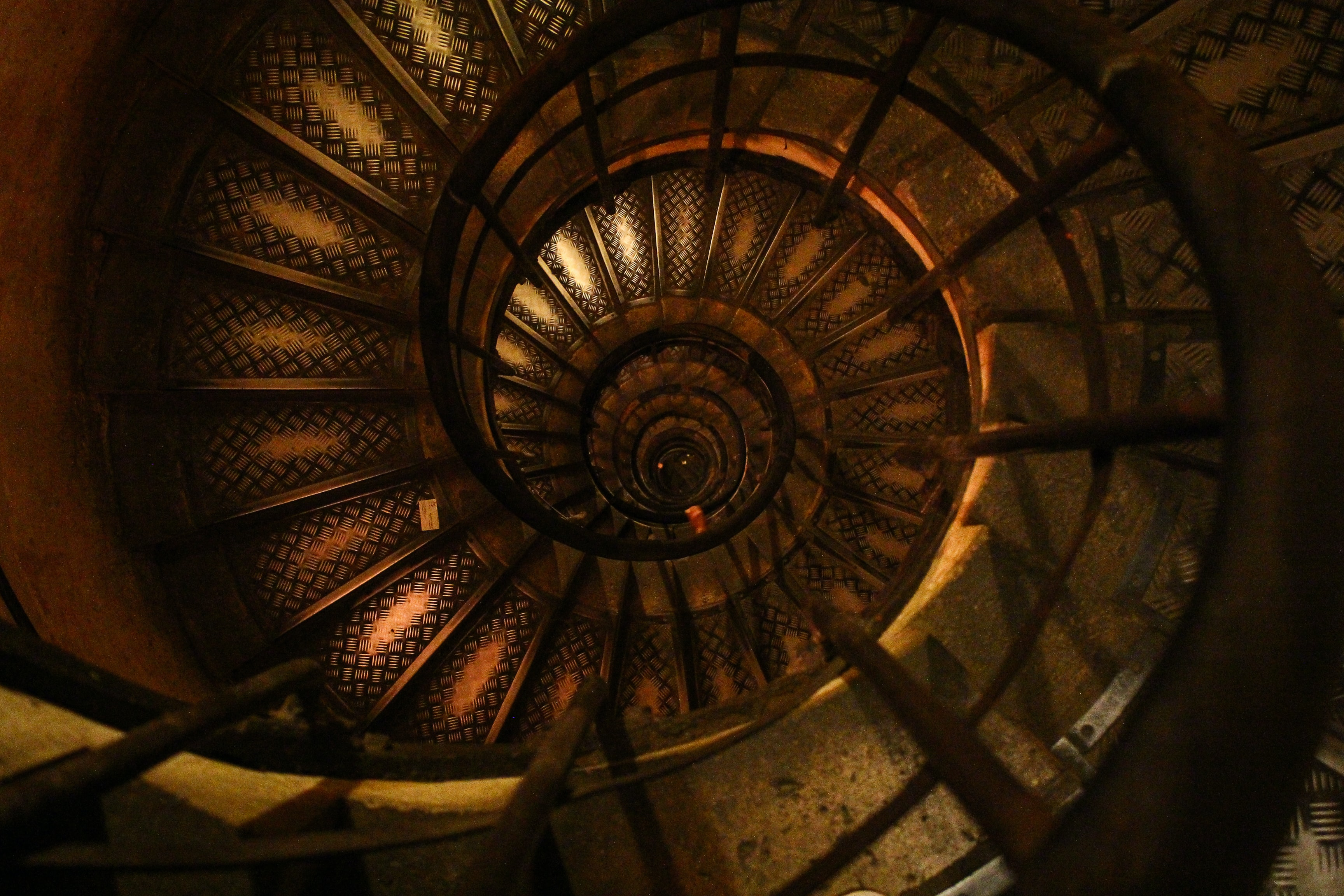 A worn spiral staircase