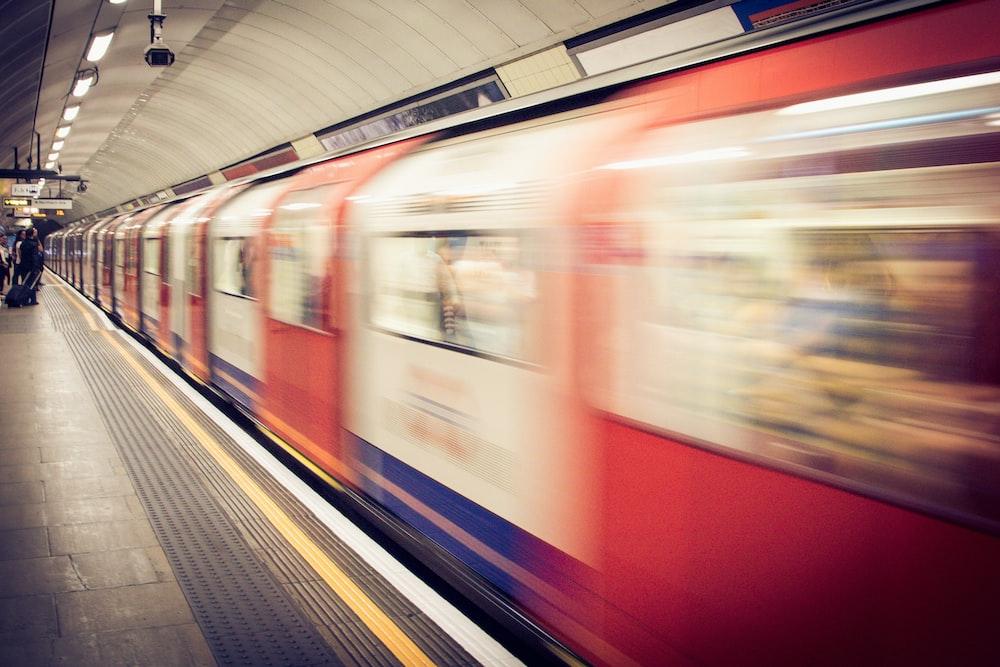 timelapse photo of train