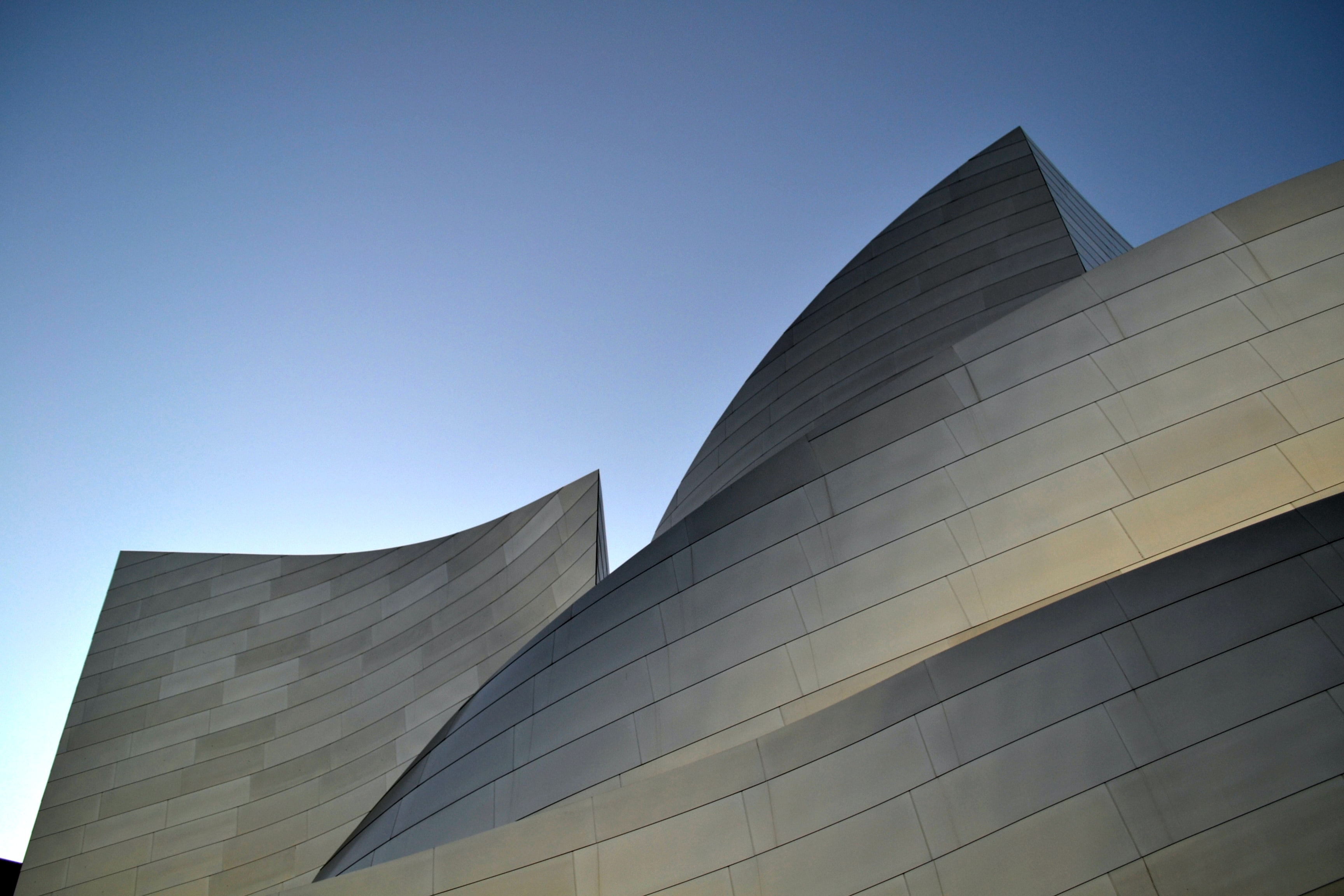 Steel panels in the postmodern facade of the Walt Disney Concert Hall
