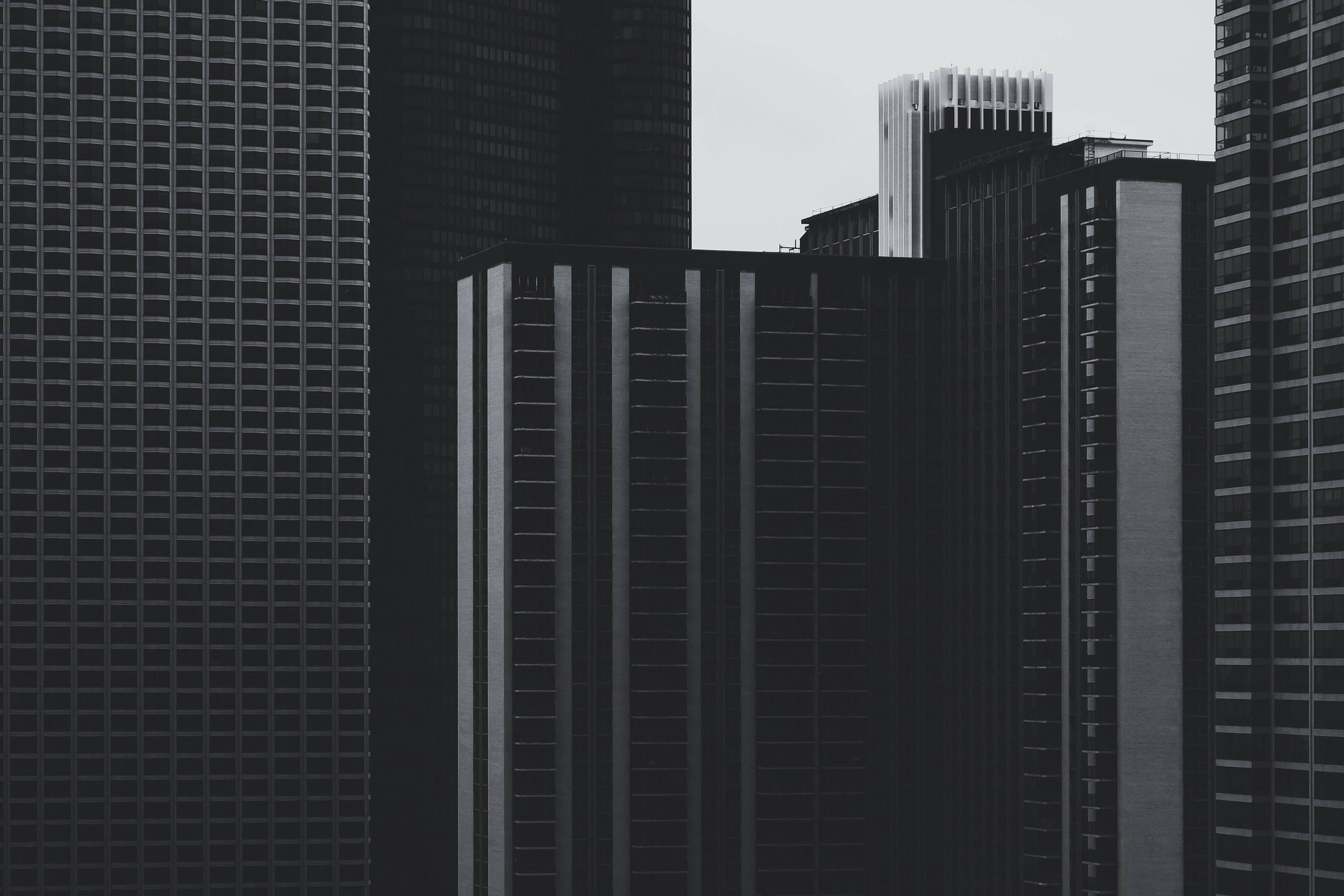 A gloomy shot of office buildings in Chicago