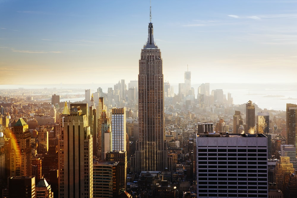 The skyline of Manhattan with the towering Empire State Building