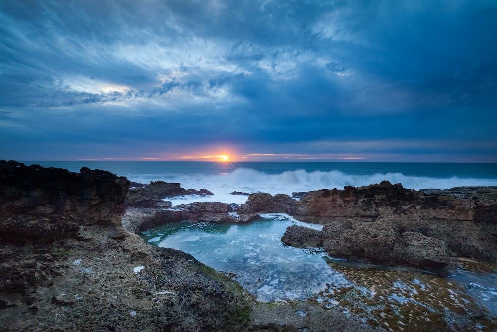 landscape photography of ocean waves