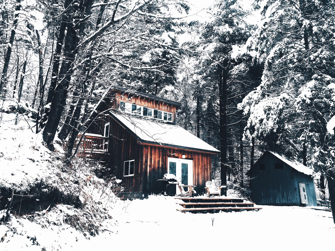 A wood cabin in the snow