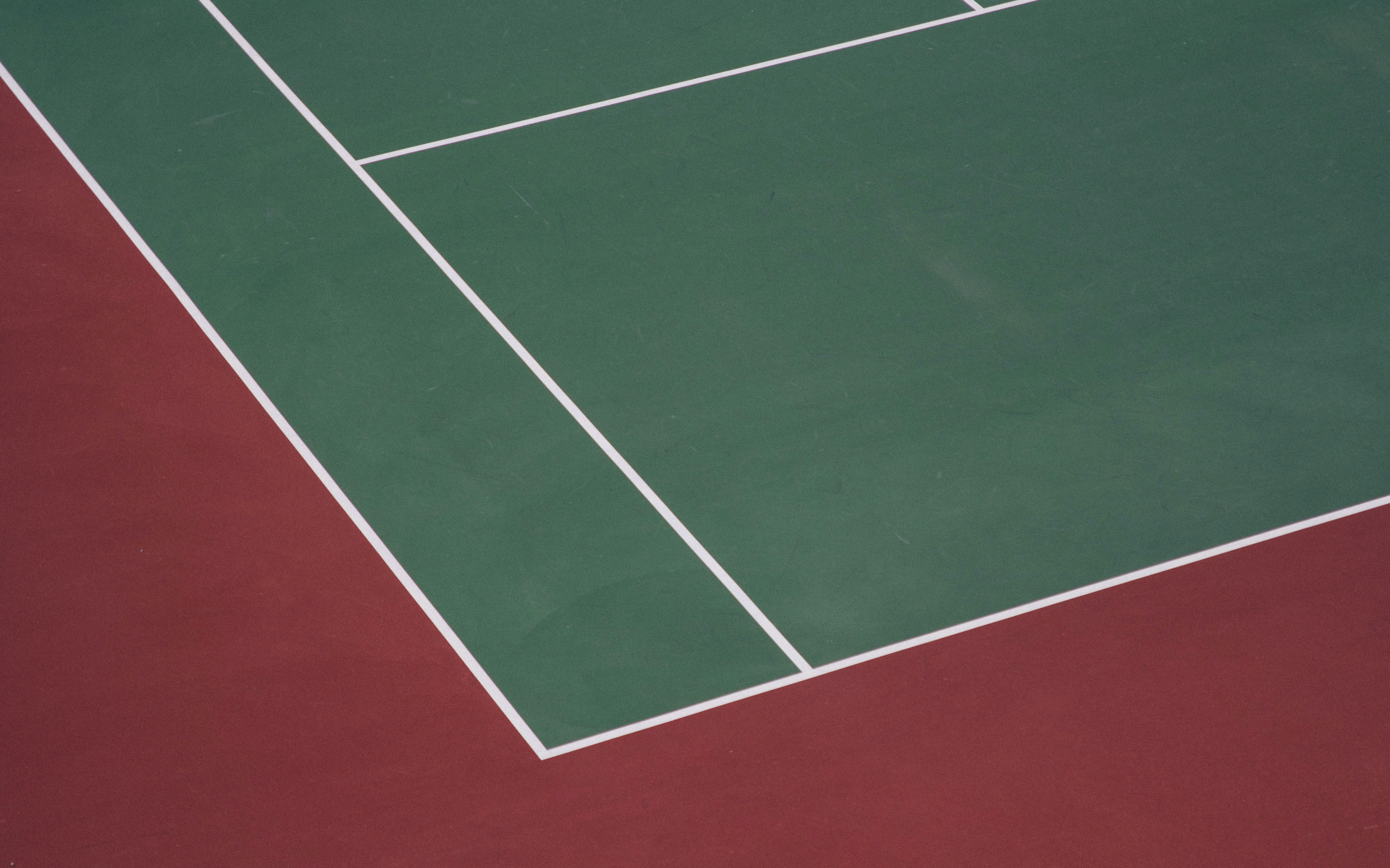 A red and green tennis court at Gaithersburg High School