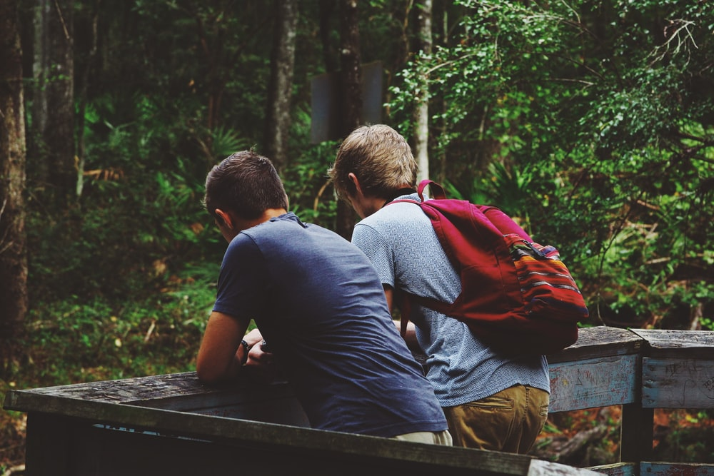 Two young men leaning against a wooden railing in a forest