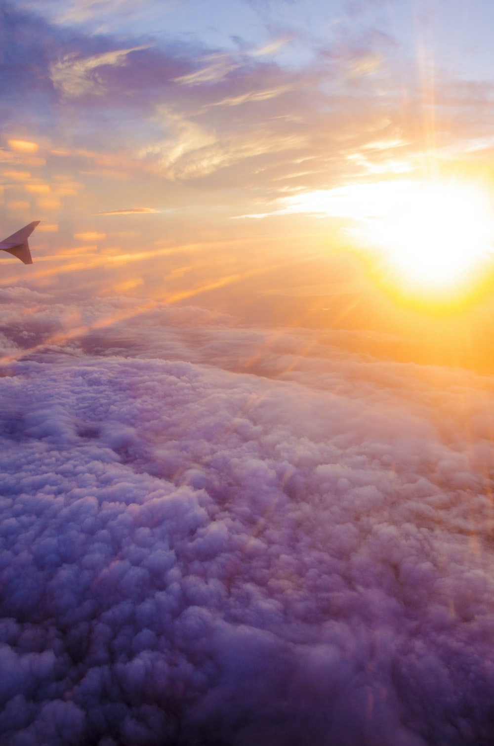 aerial photography of white clouds and sunlight