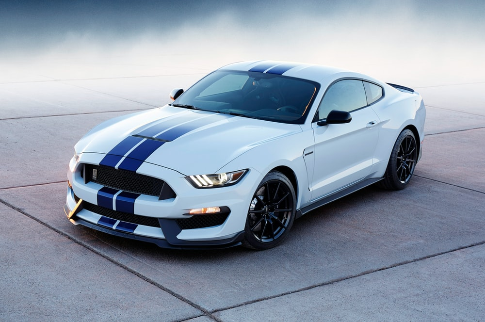 White And Blue Ford Mustang