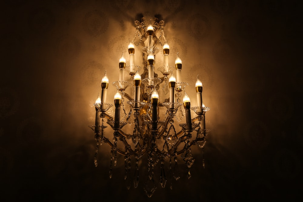 brown and crystal chandelier