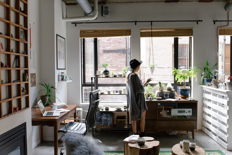 Girl in her work station