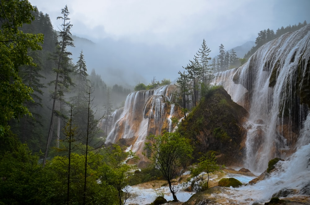 waterfalls on forest
